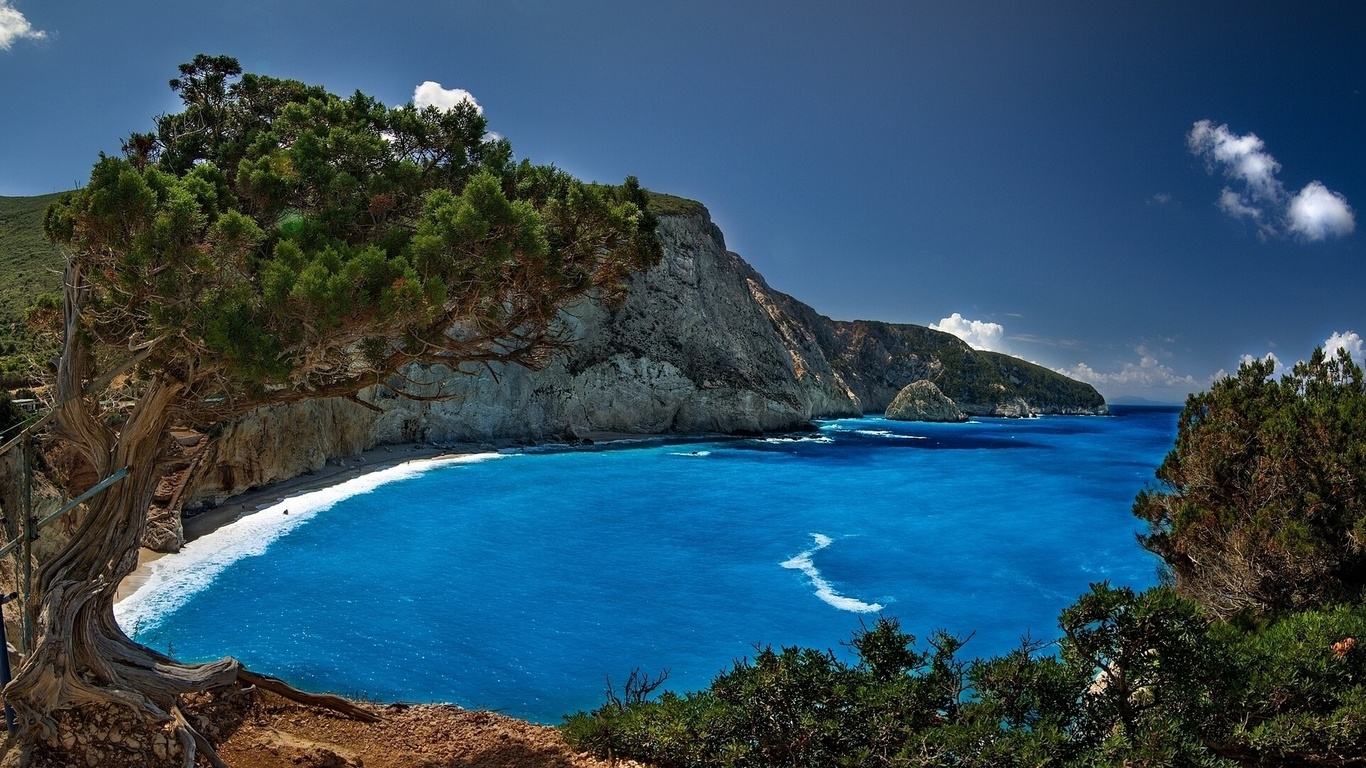 природа, море, greece, пляж, горы, скалы, курорт, греции, небо,облака