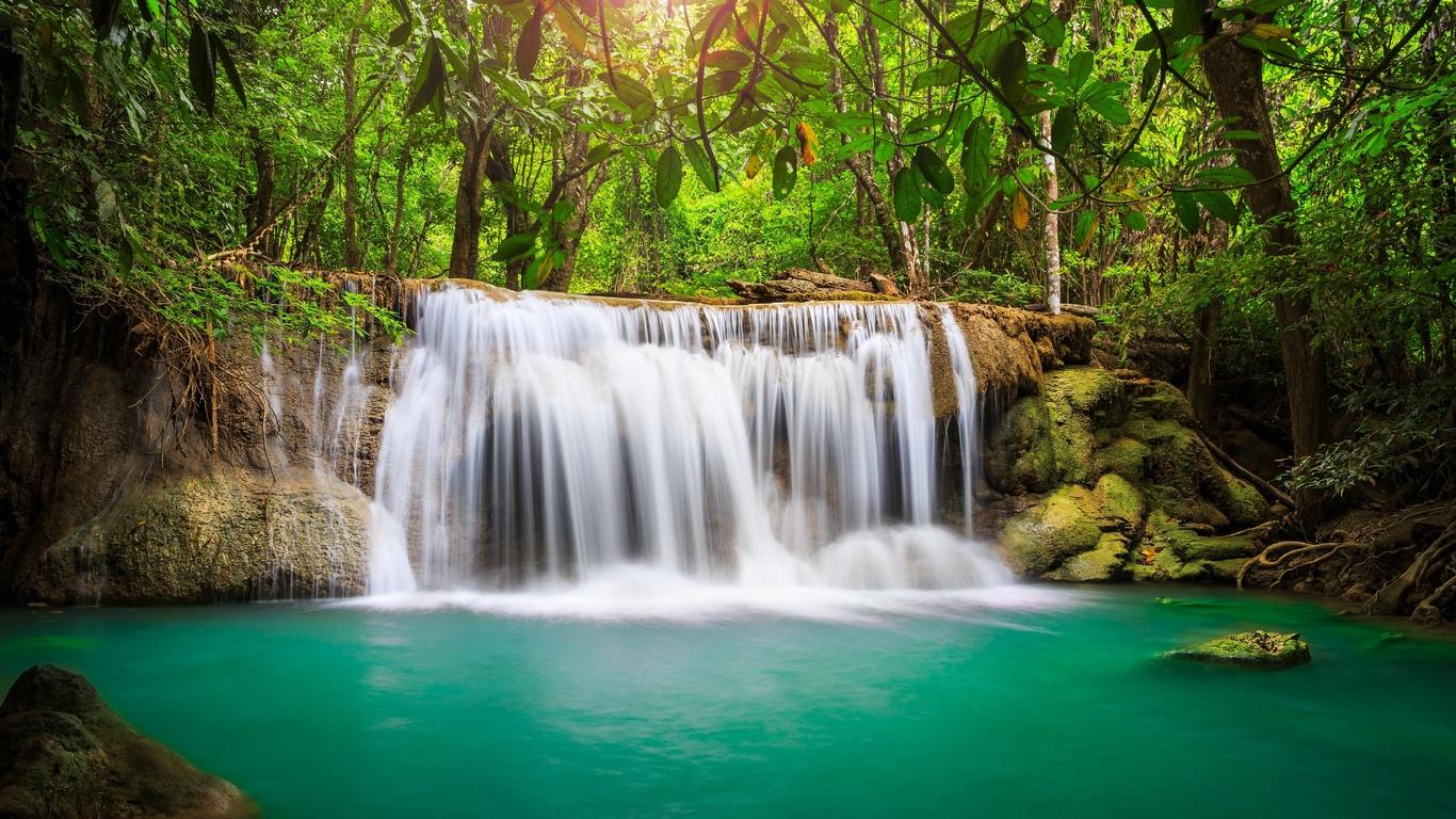 природа, тропики, водопад, река, деревья, джунгли, свет, солнца, красиво, лето