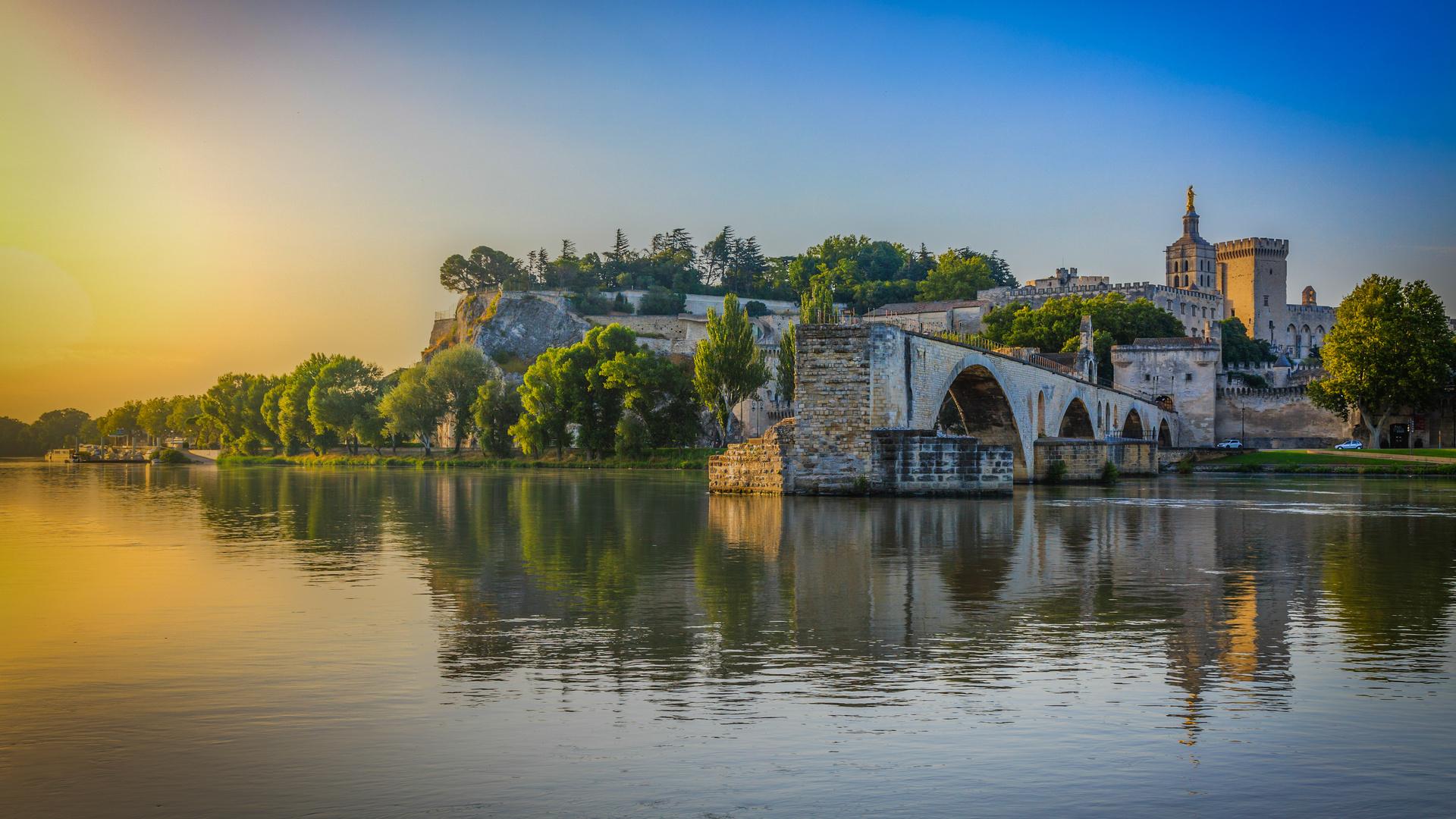 франция, авиньон, мост, река, берег, строения, небо, красота, города мира,