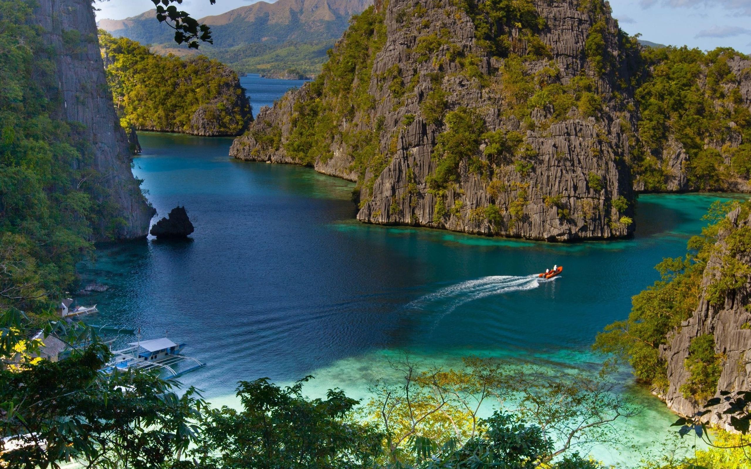 природа, океан, курорт, скалы, горы, тропики, красиво, лес, катер