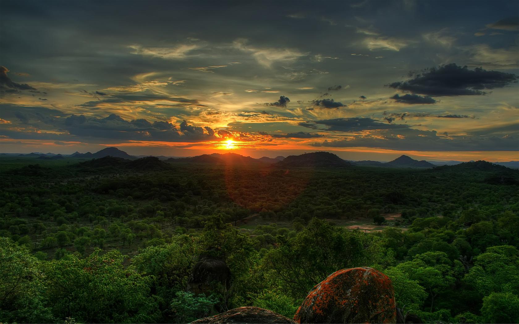 african sunset, sky, sunset, the sun, trees, небо,облака, природа