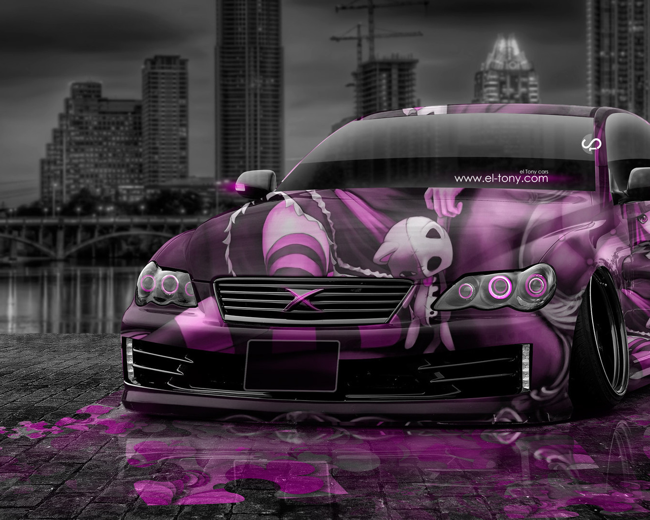 tony kokhan, toyota, mark, x, jdm, tuning, anime, aerography, girl, city, pink, colors, style, el tony cars, photoshop, hd wallpapers, тони кохан, фотошоп, тойота, марк, х, икс, тюнинг, аэрография, аниме, анимэ, город, ночь, розовая, машина, розовое, авто