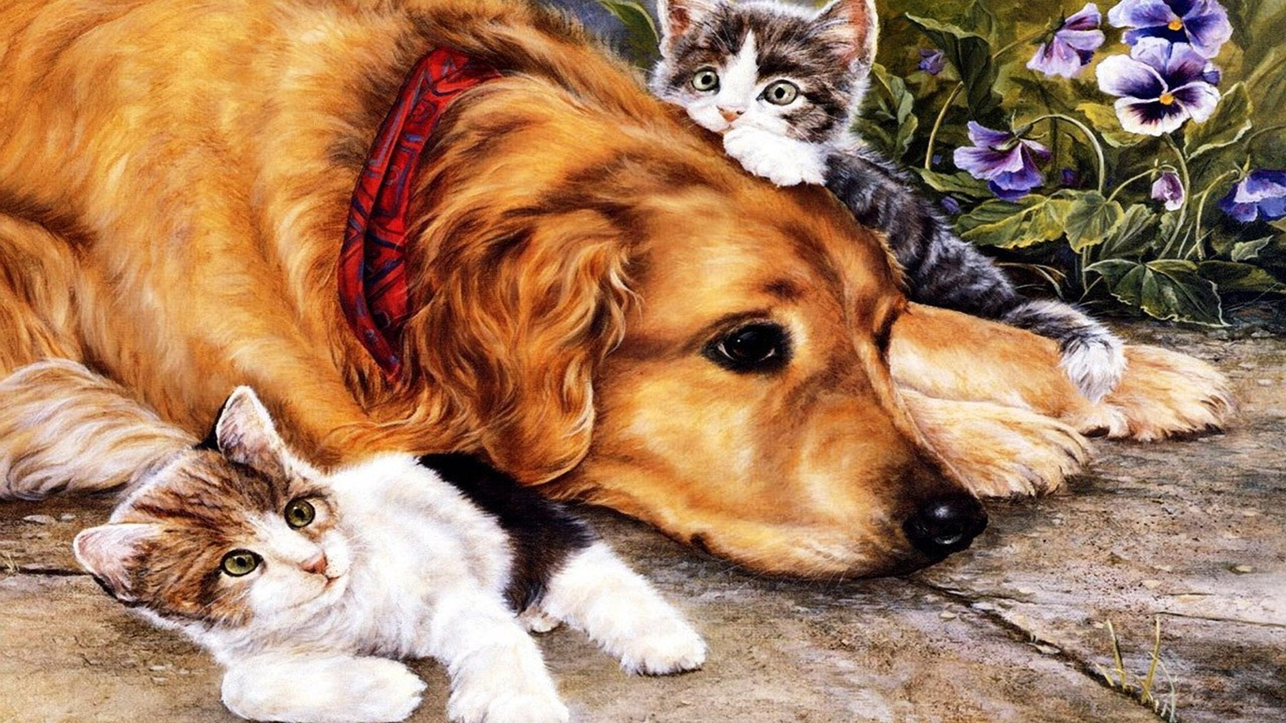 Дню матери, открытка милые котята и щенята