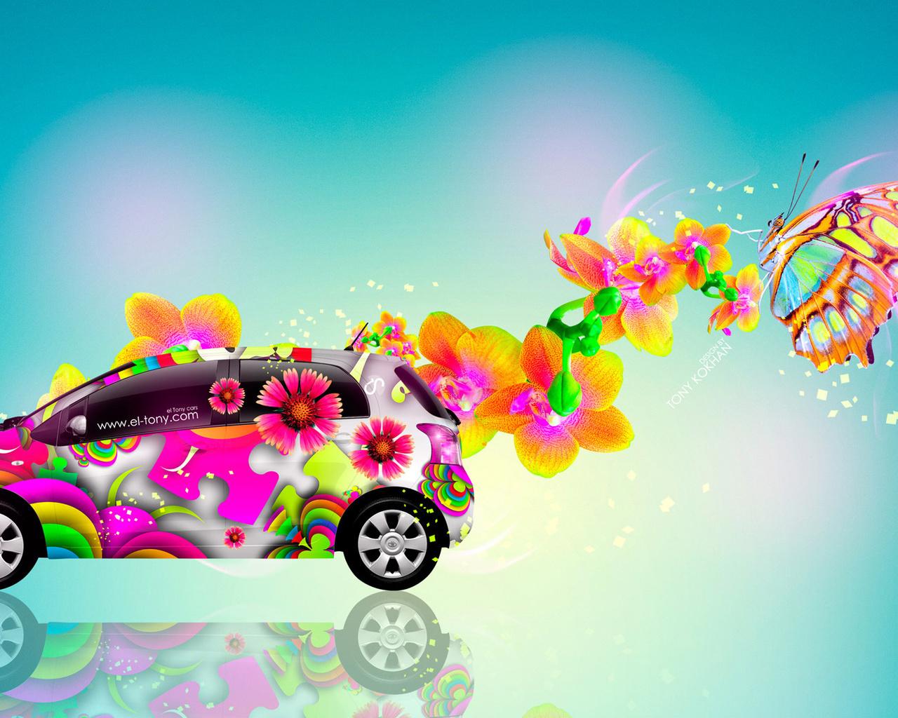 tony kokhan, toyota, vitz, jdm, side, abstract, aerography, fantasy, butterfly, flowers, car, multicolors, blue, yellow, el tony cars, photoshop, design, art, style, hd wallpapers, тони кохан, фотошоп, дизайн, тойота, витц, вид сбоку, аэрография, абстракт