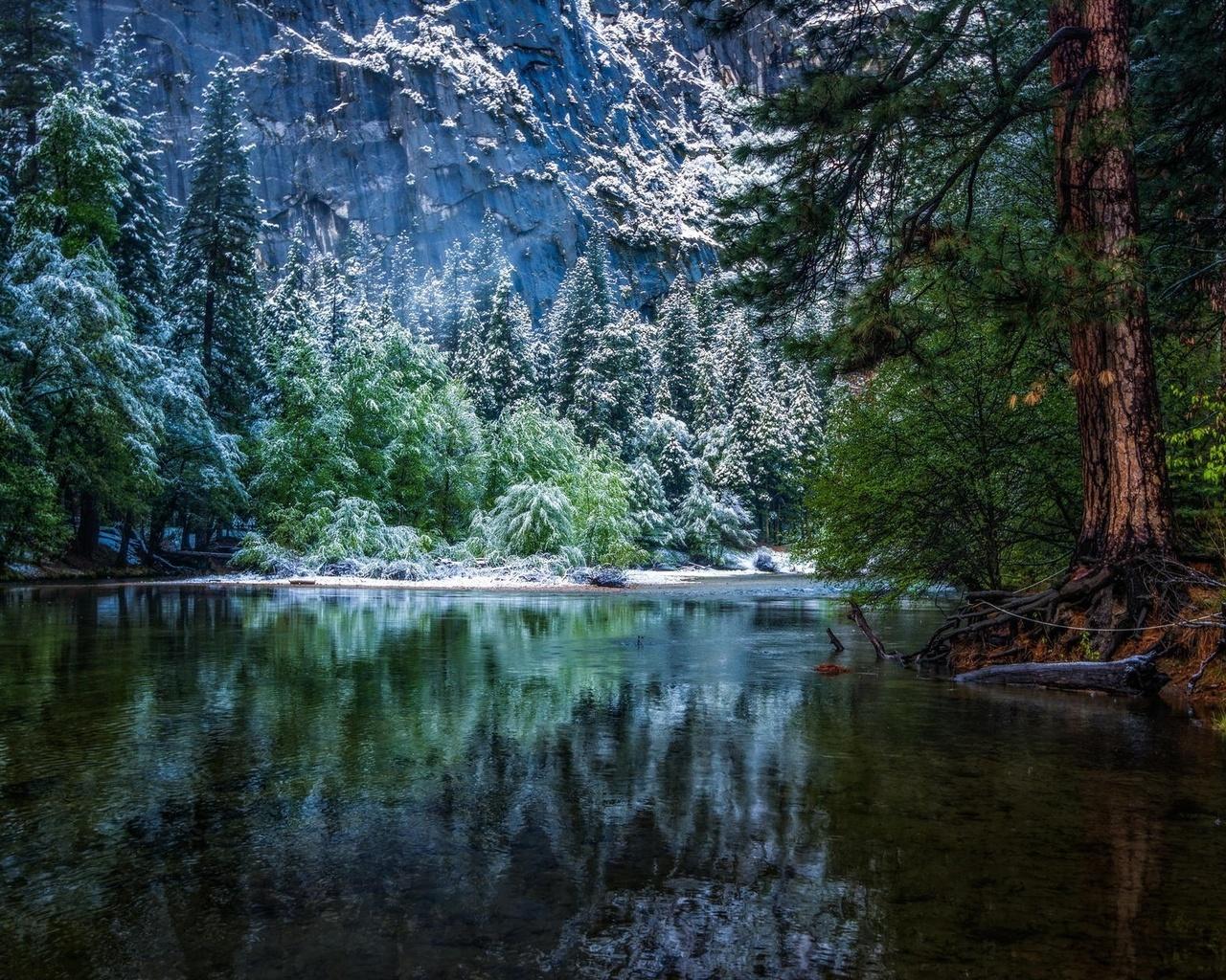 природа, лес, горная река, горы, красиво, иней, снег, красиво