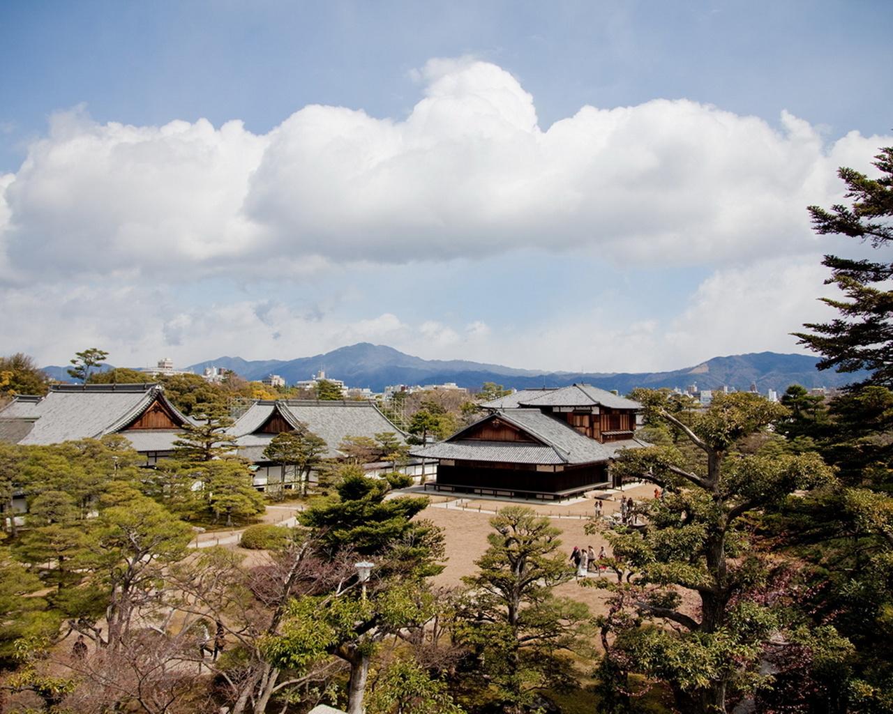 Япония, киото, деревья, дома, небо, красота