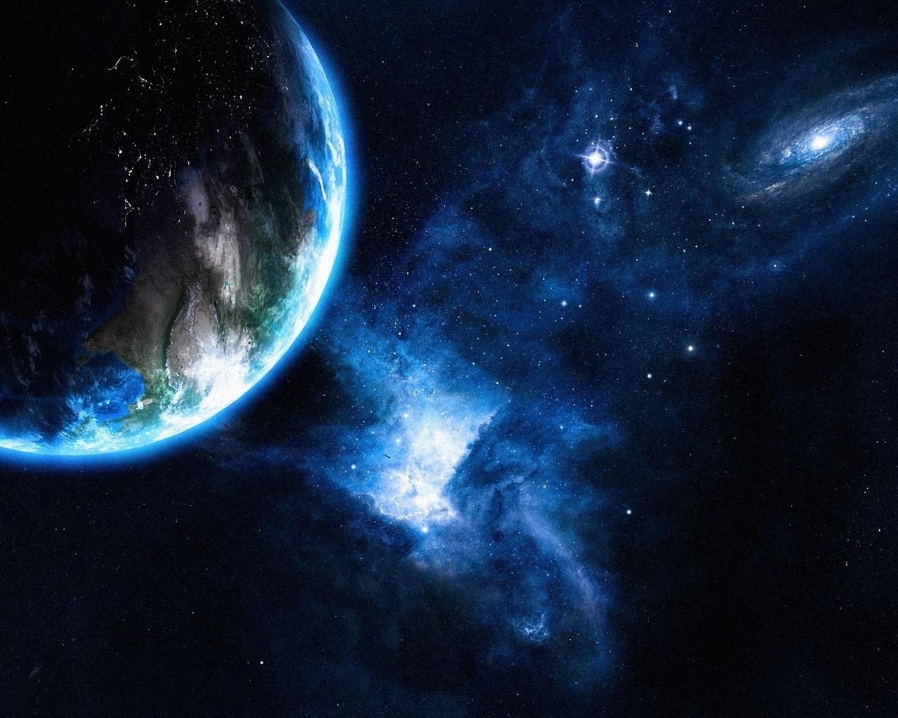 планета, звезды, космос, красиво, темный фон