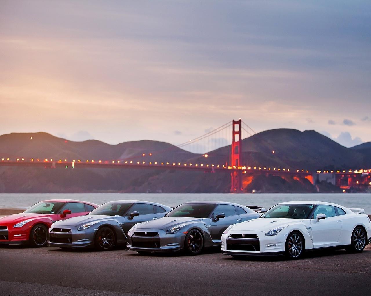 город, мост, паркинг, суперкар, ниссан, спорткар, мост, сан франциско, горы, вечер, красиво