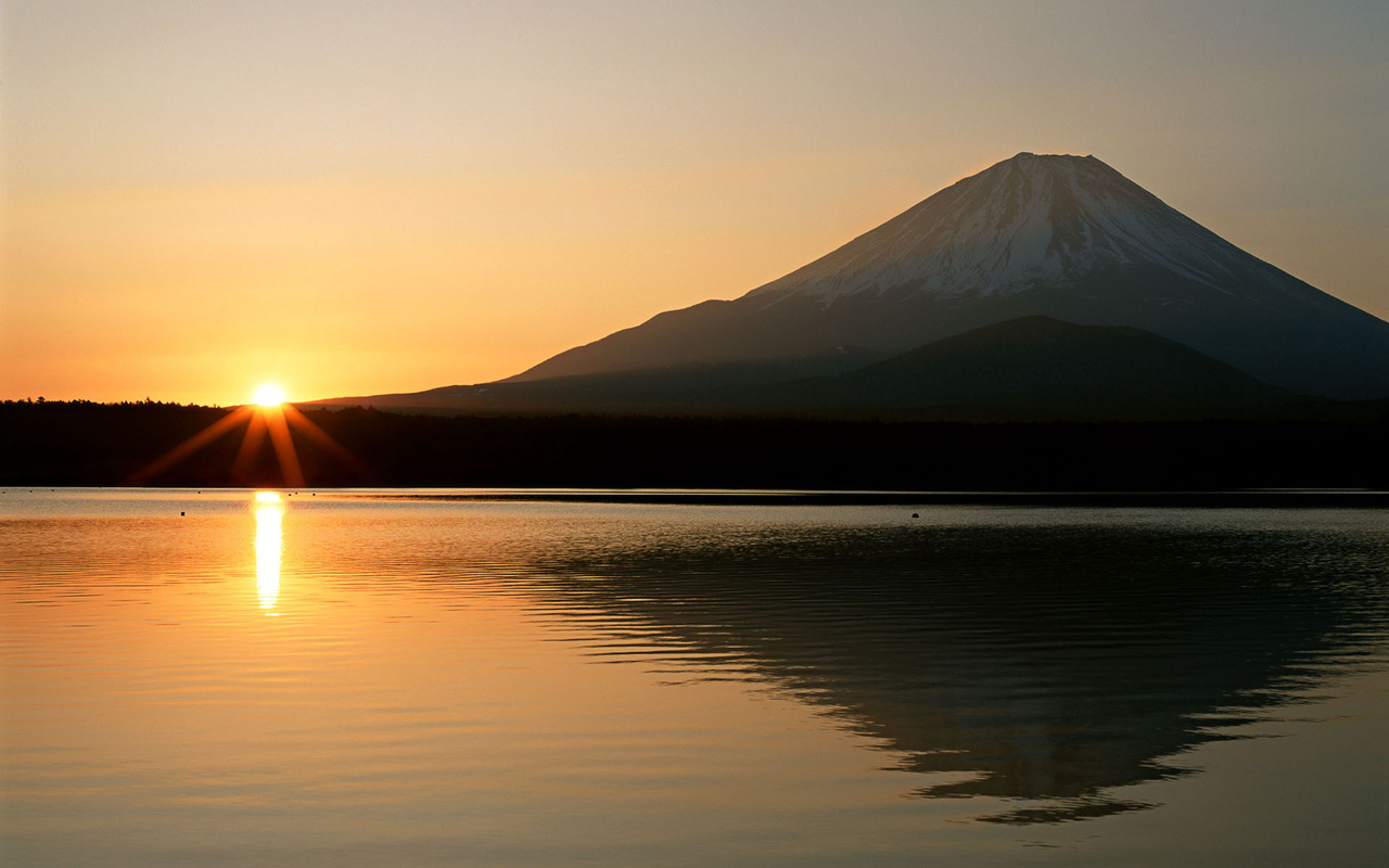 volcano, water, tree, lake, sky