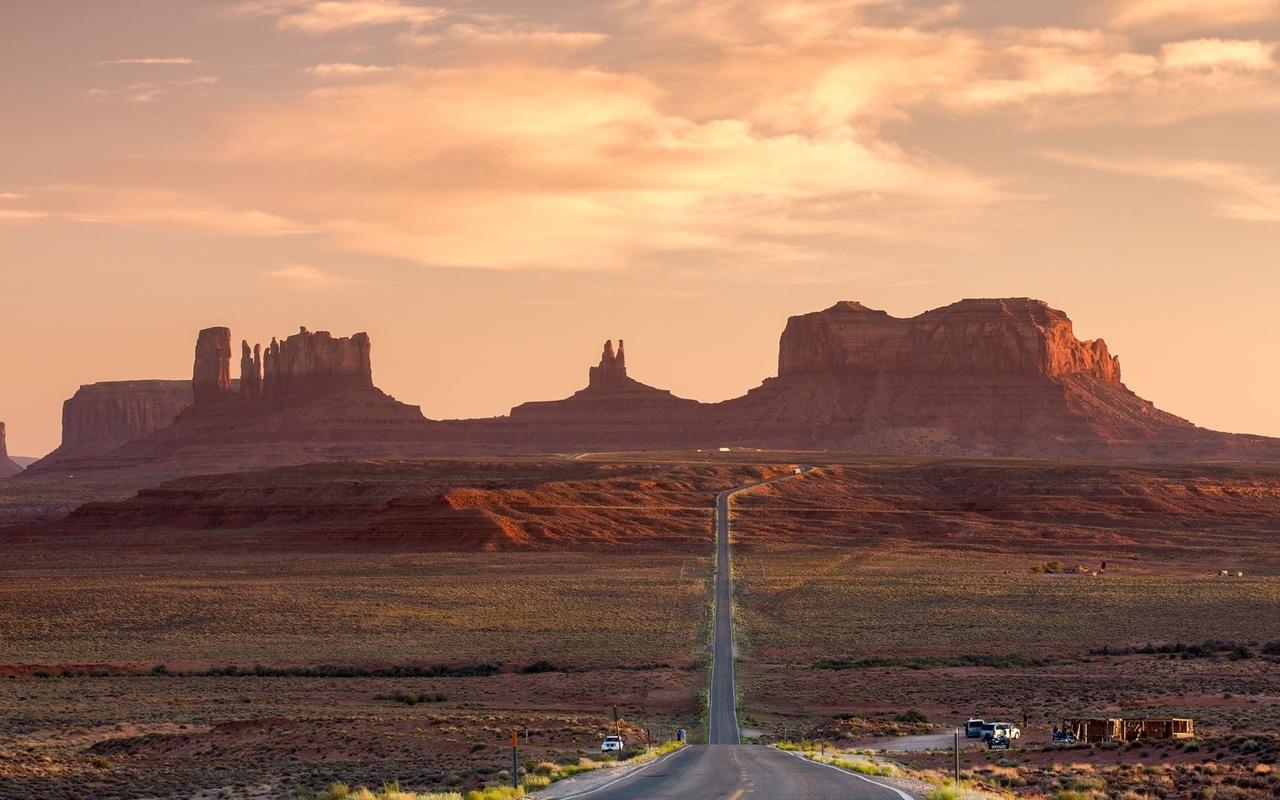 road, desert, canyon, sky