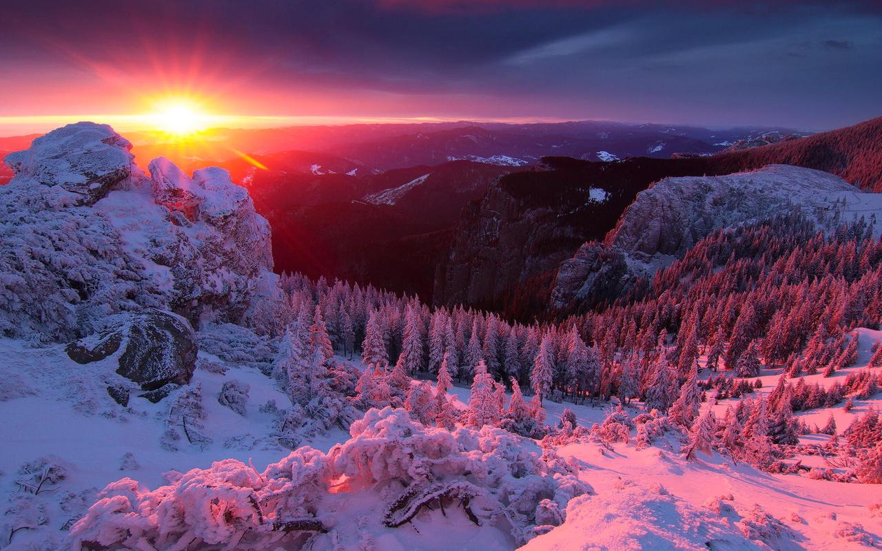 зима, горы, закат, деревья, красиво