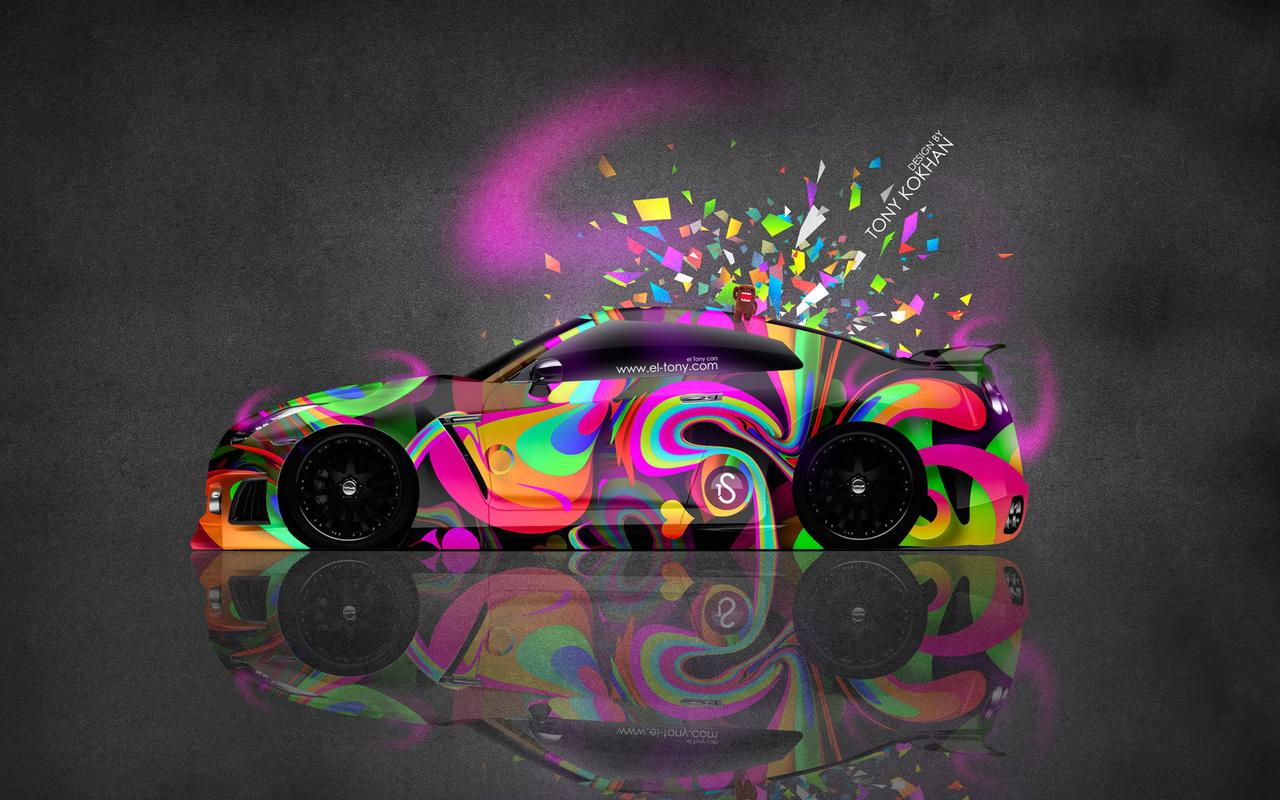 tony kokhan, nissan, gtr, r35, jdm, side, domo kun, toy, car, multicolors, abstract, aerography, pink, neon, el tony cars, photoshop, hd wallpapers, design, art, style, japan, tuning, тони кохан, фотошоп, ниссан, гтр, 35 кузов, вид сбоку, разноцветная, ма