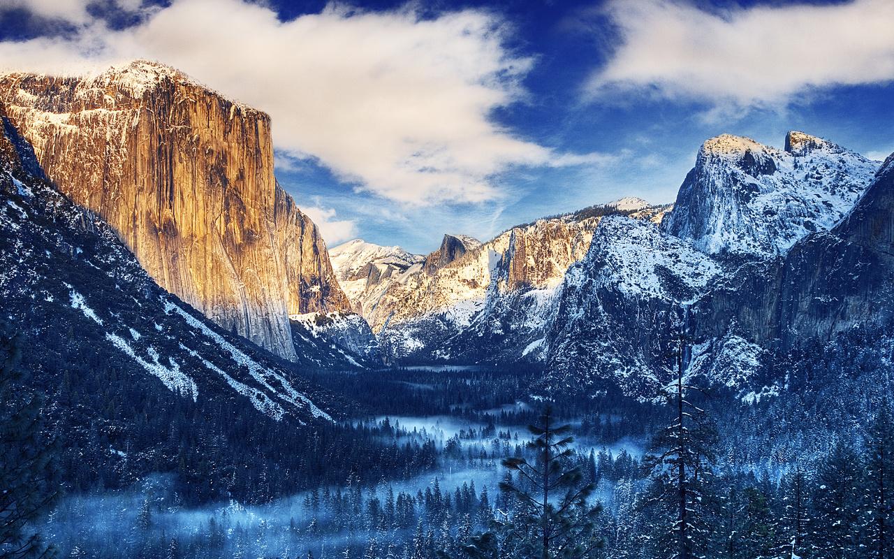yosemite national park, лес, горы, сша, зима, водопад, красиво, утро, рассвет, туман