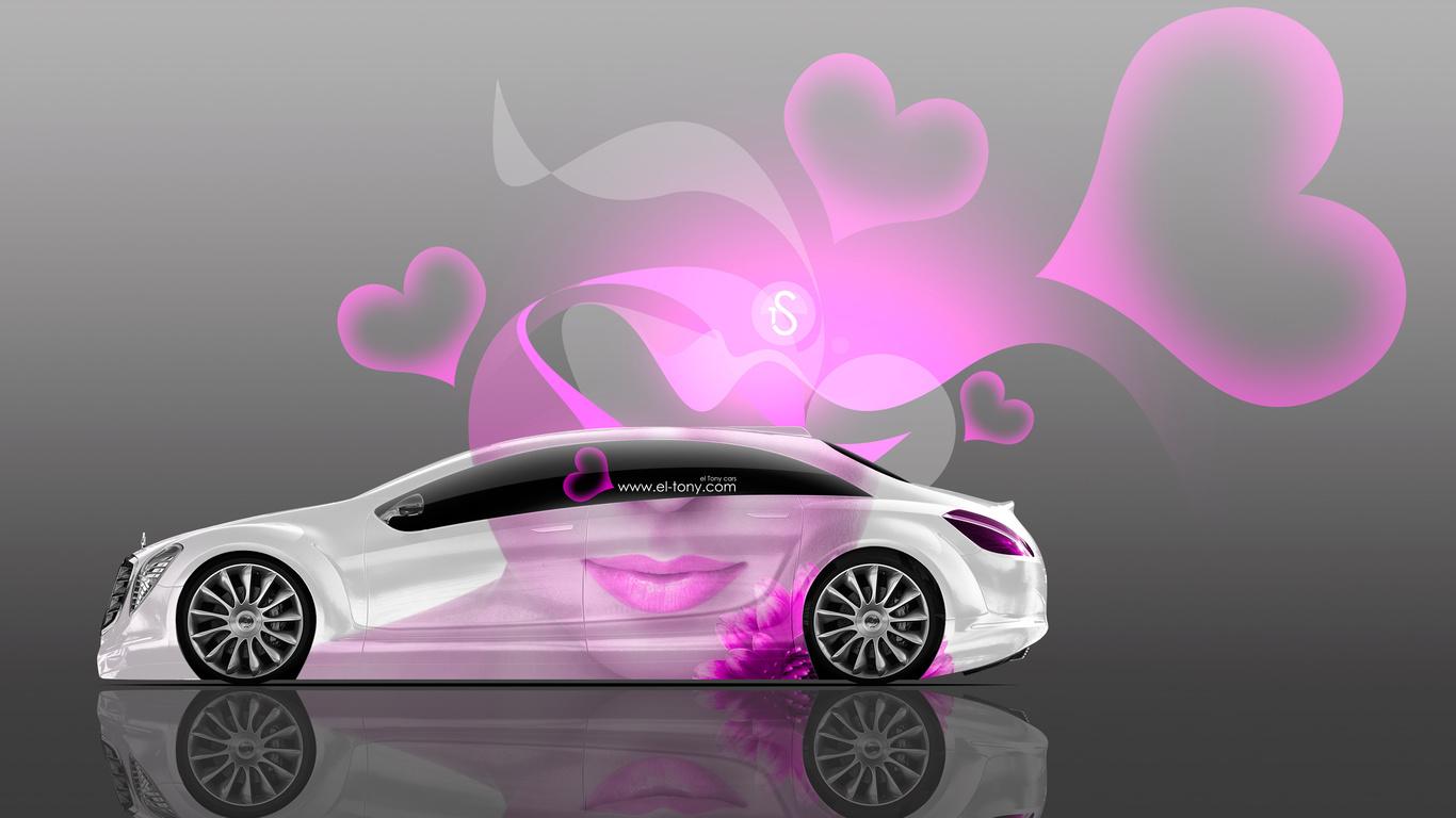 tony kokhan, mercedes-benz, f700, side, glamour, girl, aerography, pink, neon, effects, lips, 4k, wallpapers, el tony cars, heart, design, art, style, тони кохан, фотошоп, мерседес-бенц, мерседес, ф700, вид сбоку, аэрография, гламур, девушка, сердечки, се