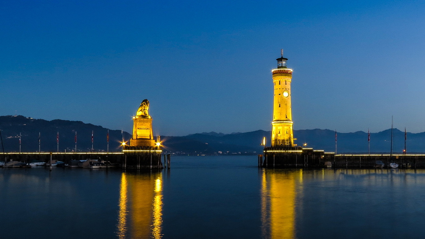 германия, бавария, маяк, красота, небо, природа