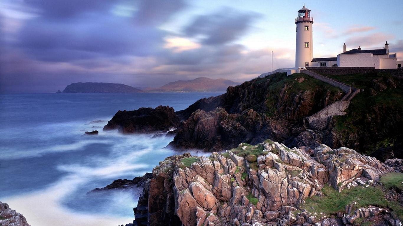 ирландия, маяк, океан, закат, небо, красота, mayak, небо,облака, природа