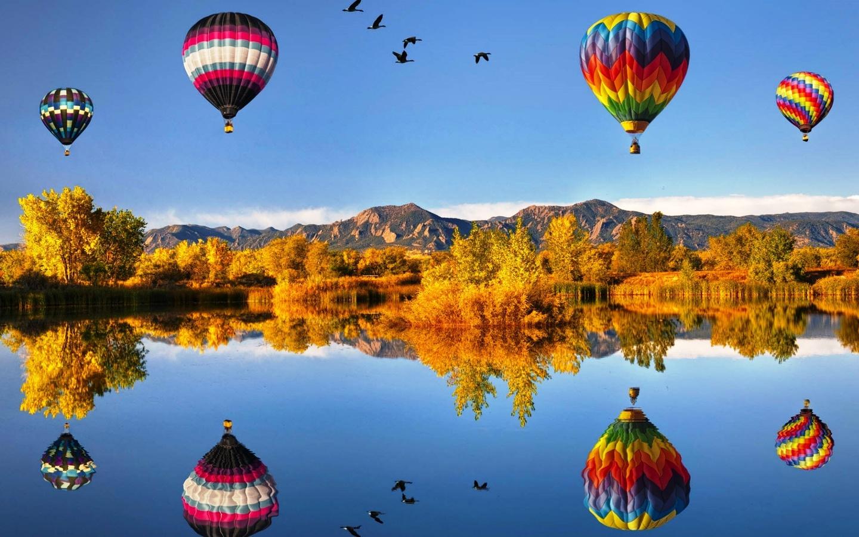 осенний пейзаж, воздушные шары, отражение, наши меЧты сбываютсЯ с redex, небо, природа