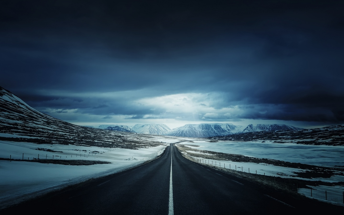 iceland, road, mountain, clouds, sky
