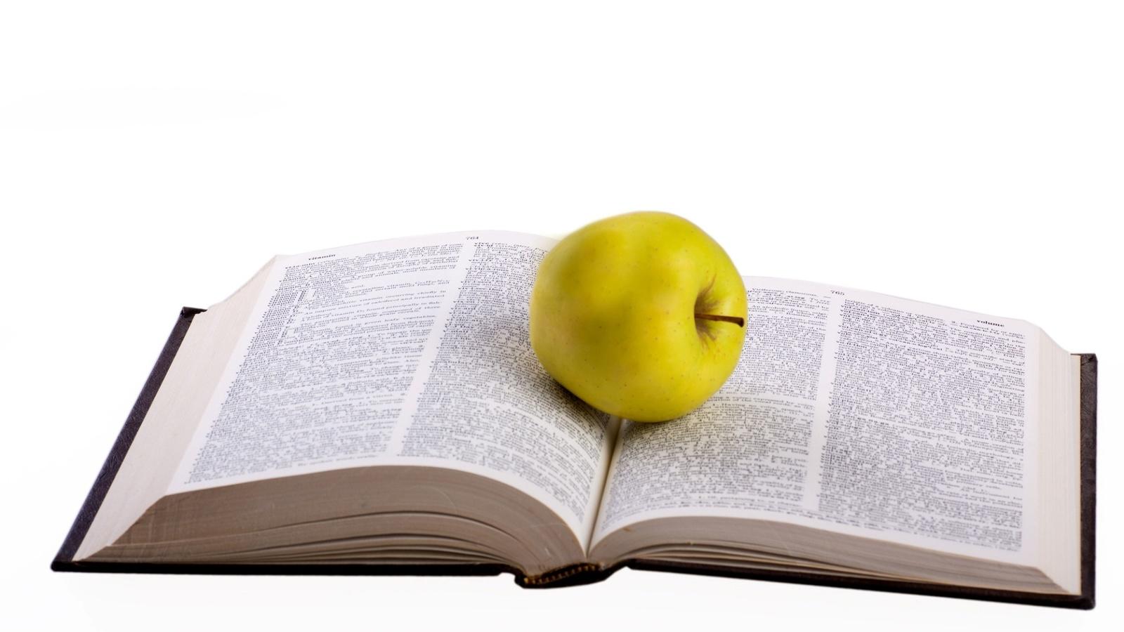 книга, яблоко, 3d