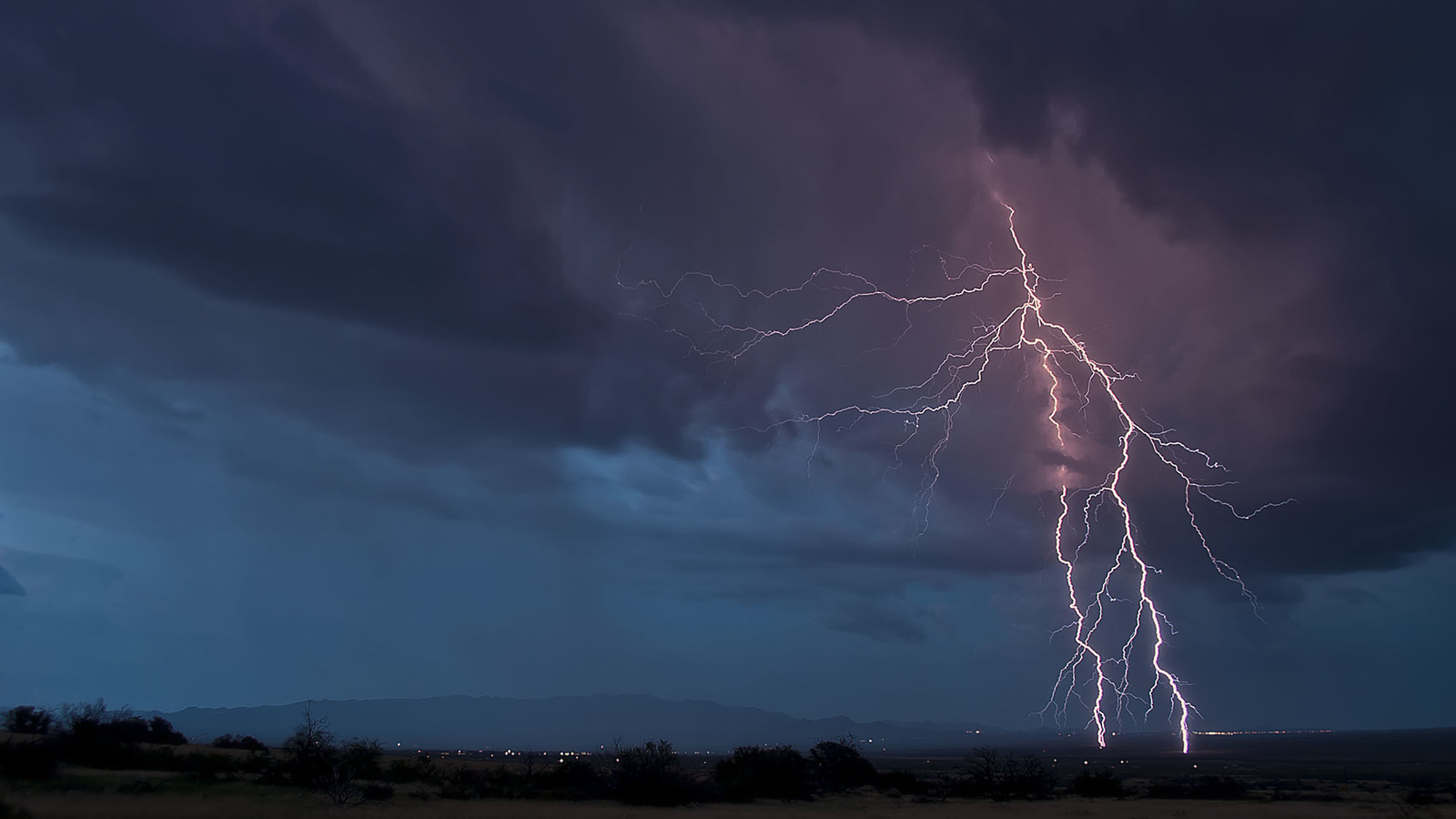 природа, вид, вечер, тучи, молния