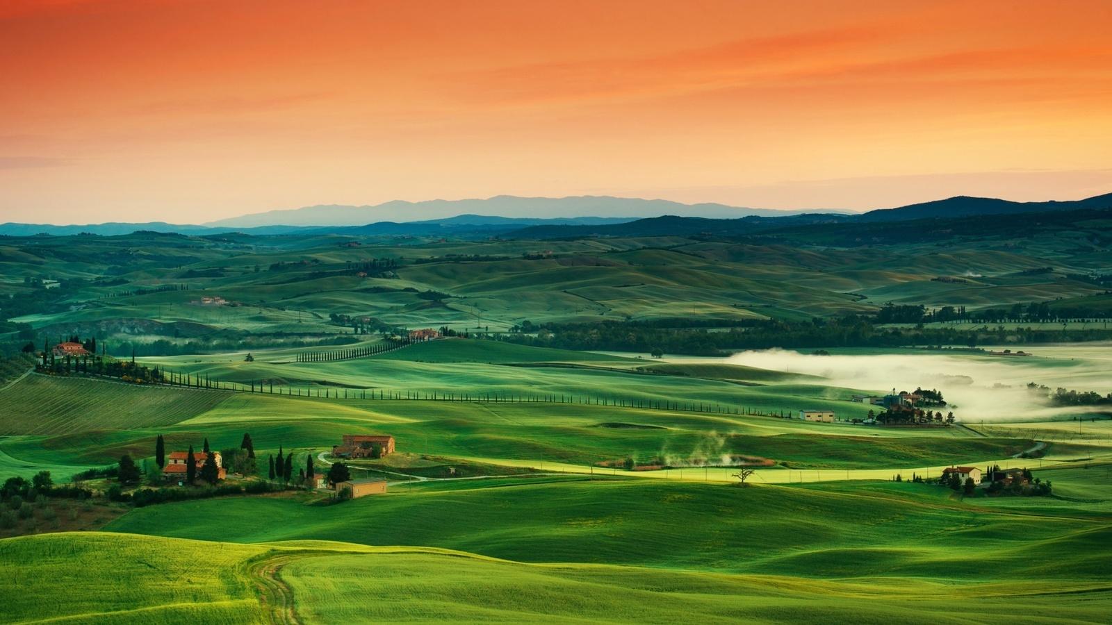 tuscany, italy, orenge, green, path, sky