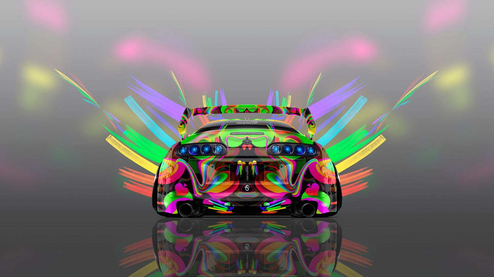 tony kokhan, toyota, supra, jdm, super, abstract, aerography, multicolors, neon, 4k, wallpapers, design, art, style, photoshop, тони кохан, фотошоп, тойота, супра, вид сзади, Яркая, разноцветная, машина, Яркое, разноцветное, авто, аэрография, абстракт, дж