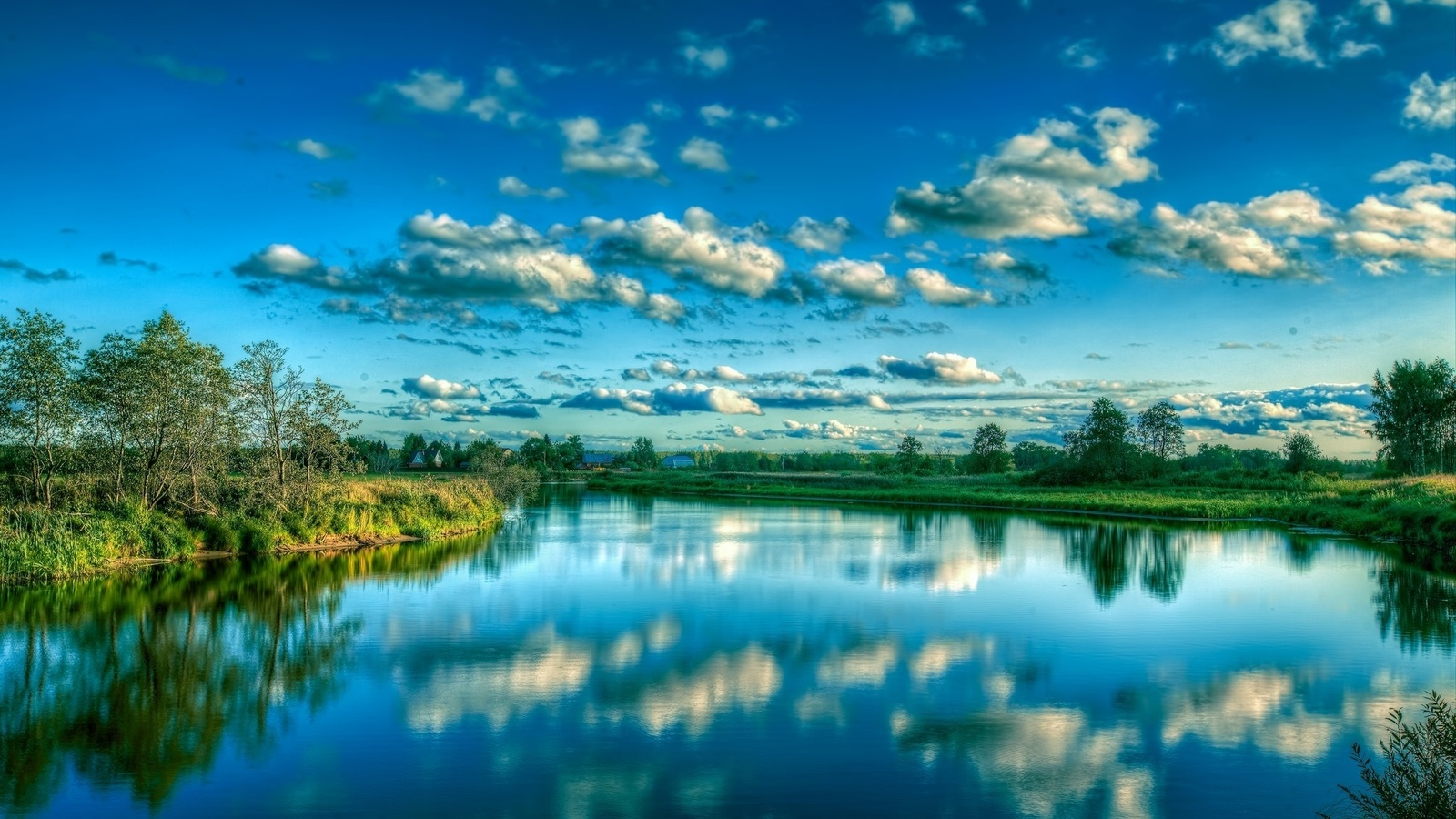 природа, река, рыбалка, лето, вода, отражение, небо, облака, красиво