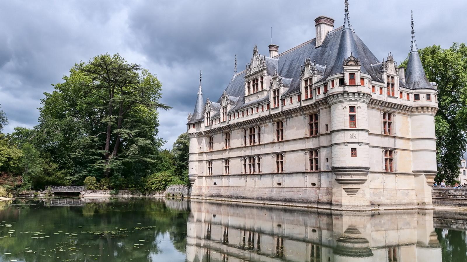 франция, замок, замки франции, озеро, деревья, отражение, красота, замки мира,, небо,облака