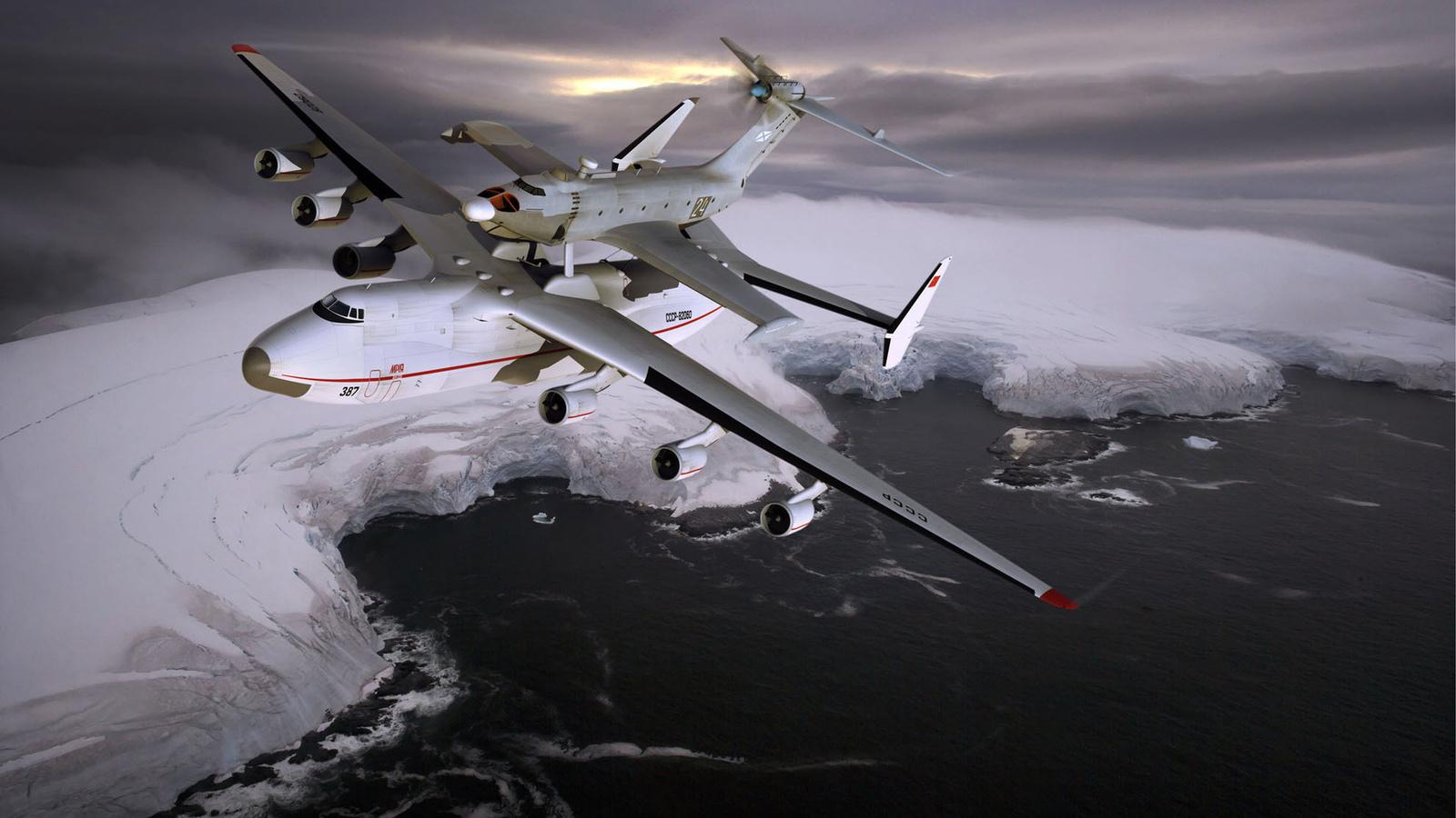 антонов, an 225, mriya, ан-225, мрия, самый, большой, грузовой, самолёт, в, мире, украина, вес, 590 тонн, грузоподъемность, 254 тонны, скорость 762 км, небо, полет, пасмурно, зима, берег, ледник