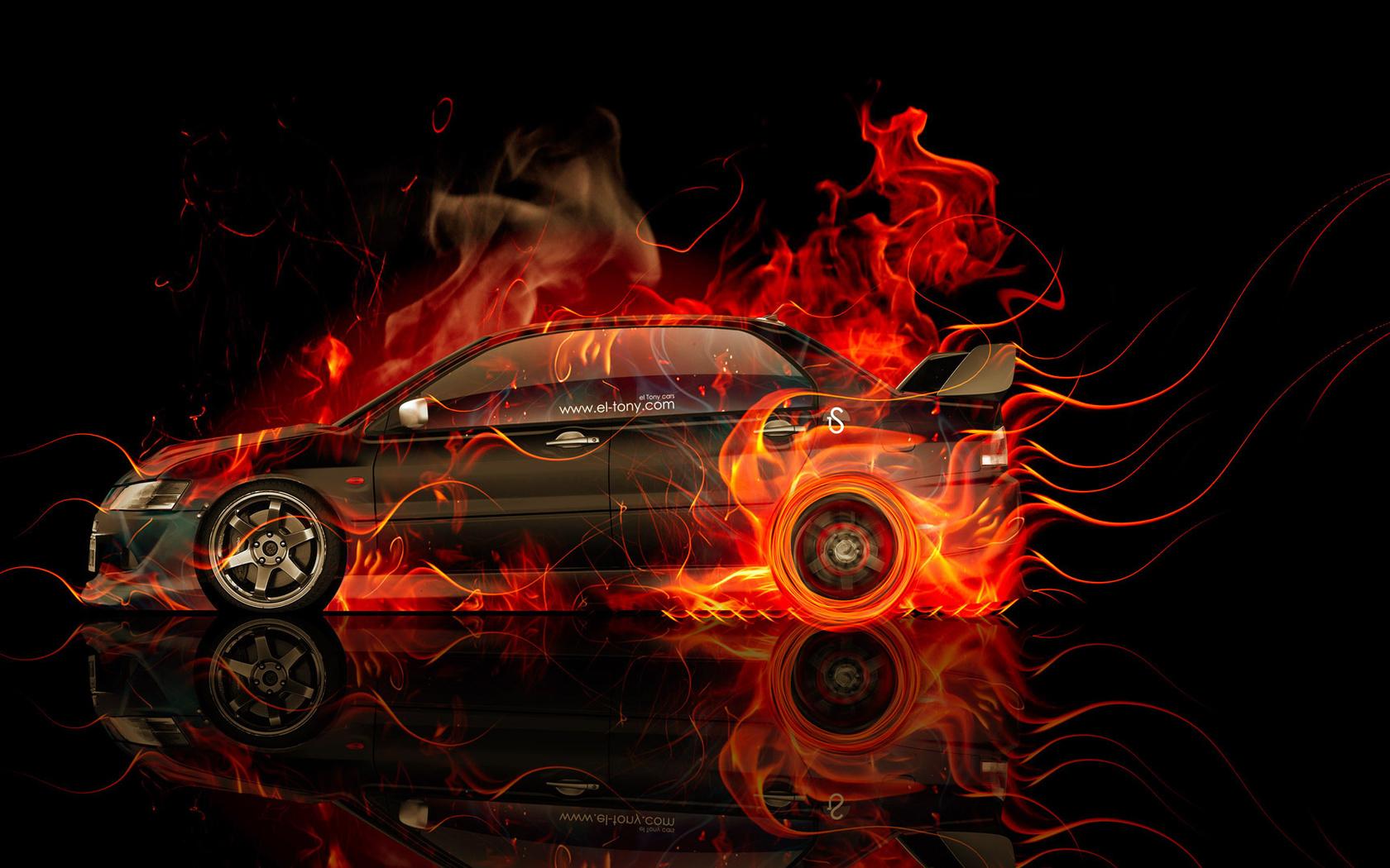 tony kokhan, mitsubishi, lancer, evolution, jdm, side, fire, car, orange, black, flame, el tony cars, photoshop, hd wallpapers, design, art, style, тони кохан, фотошоп, дизайн, митсубиши, лансер, эволюшн, огненная, машина, огненное, авто, обои, арт, стиль
