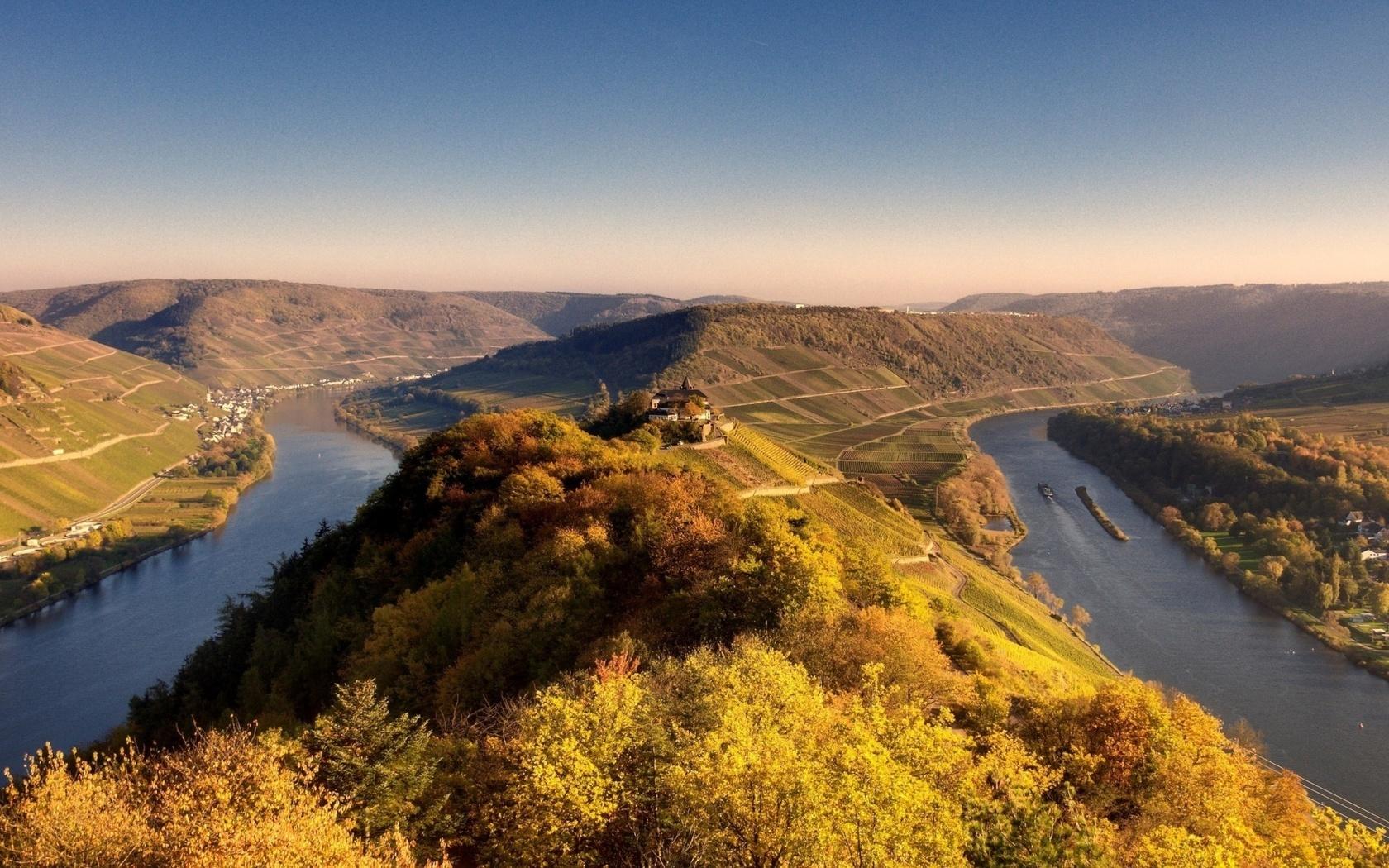 landscape, delta, river, tree, water, village