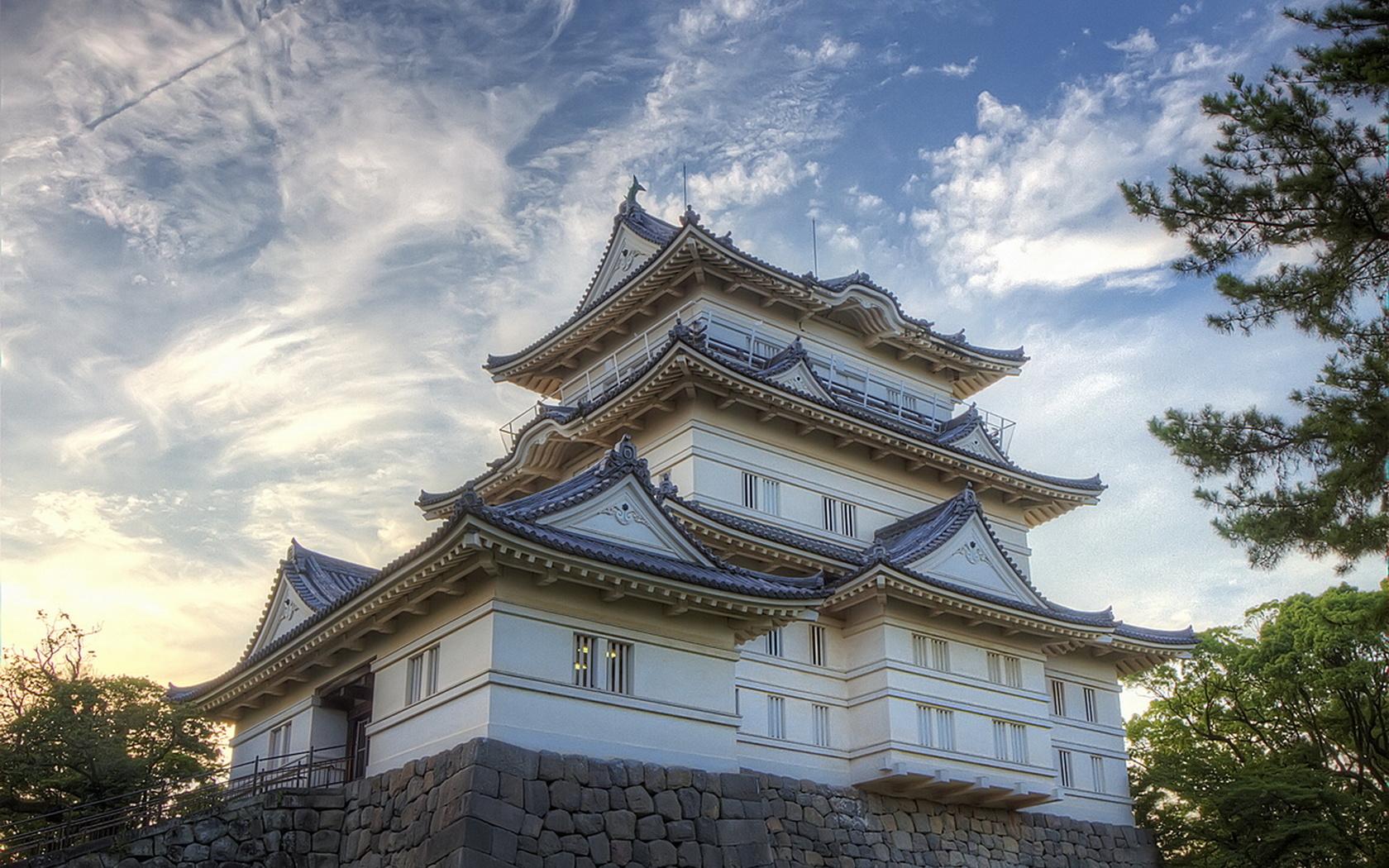Япония, замок, замки Японии, небо, деревья, пагода, красота, замки мира,, облака
