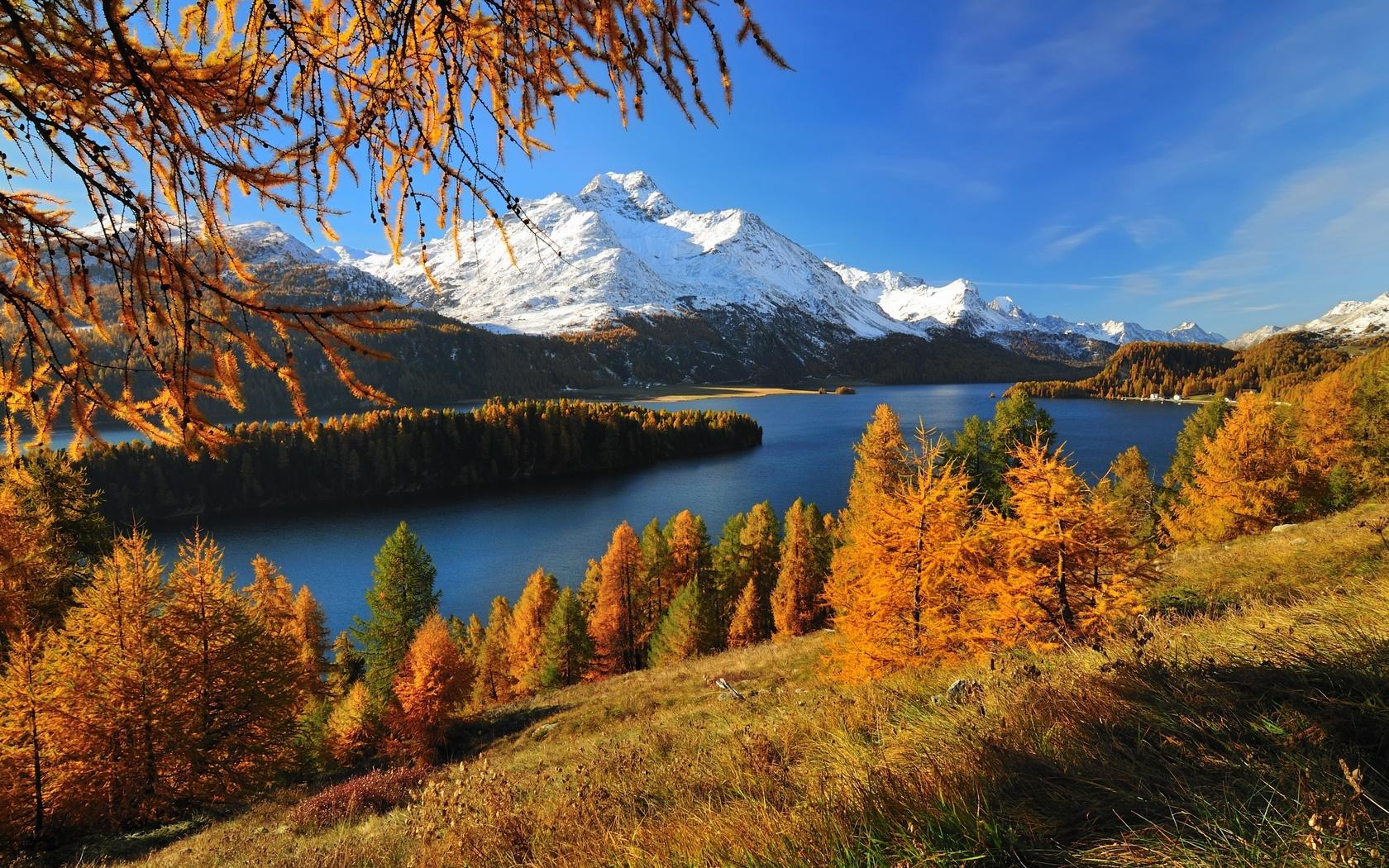 горы, швейцария, альпы, река, красиво, природа, осень, рыбалка