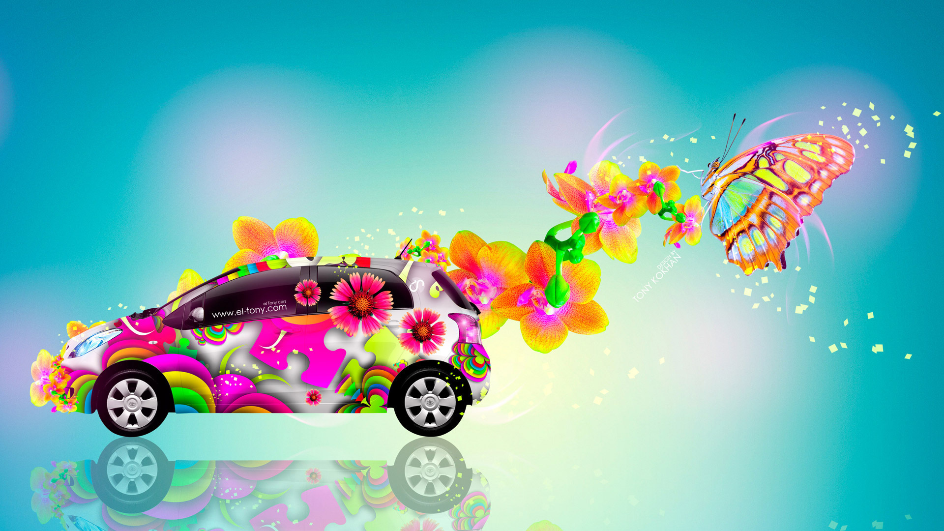 tony kokhan, toyota, vitz, jdm, side, abstract, aerography, fantasy, butterfly, flowers, car, multicolors, blue, yellow, el tony cars, photoshop, design, art, style, hd wallpapers, тони кохан, фотошоп, дизайн, тойота, витц, вид сбоку, аэрография, абстракт