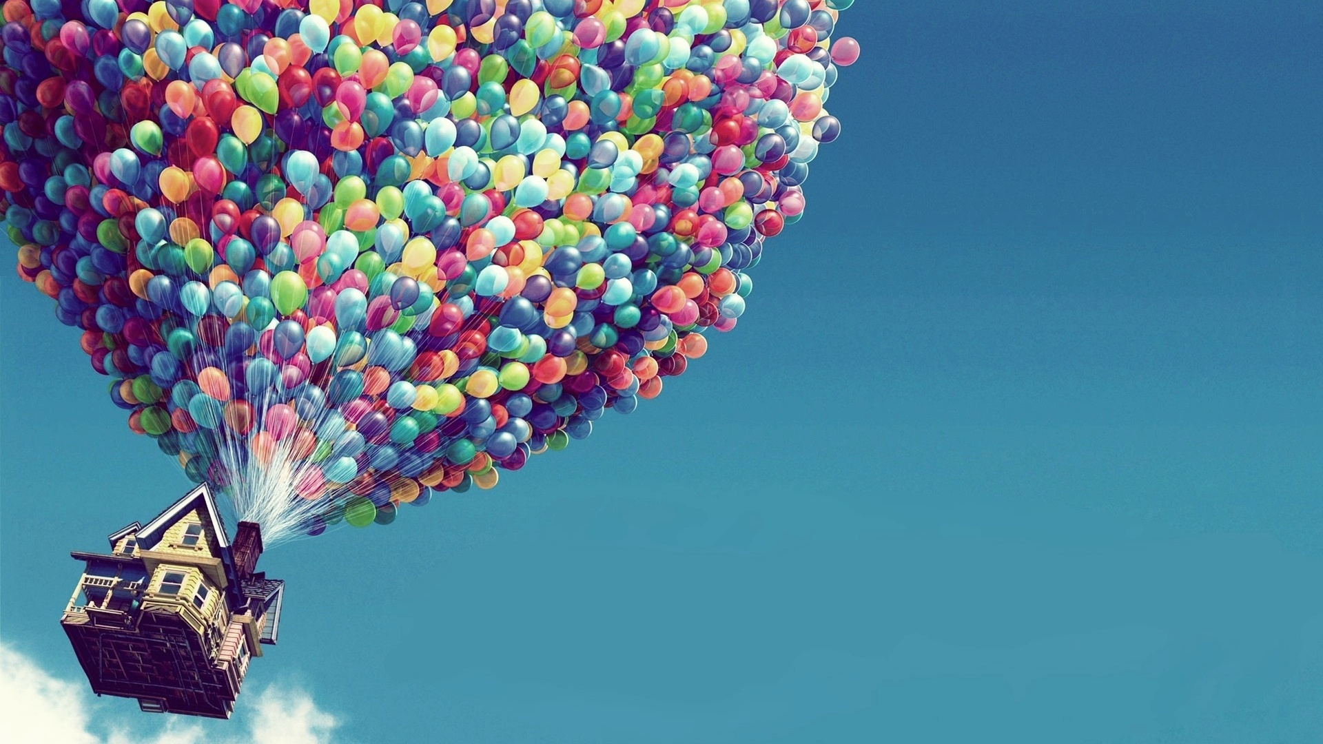 домик, воздушные шарики, полет
