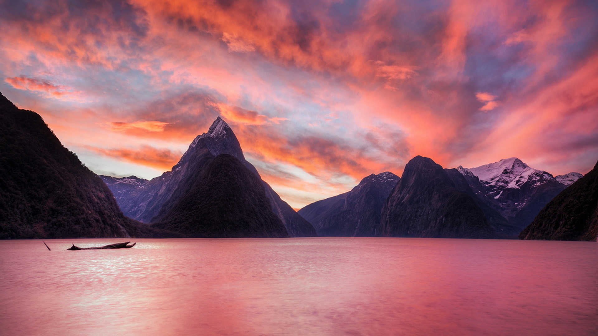 новая зеландия, озеро, горы, небо, закат, красота
