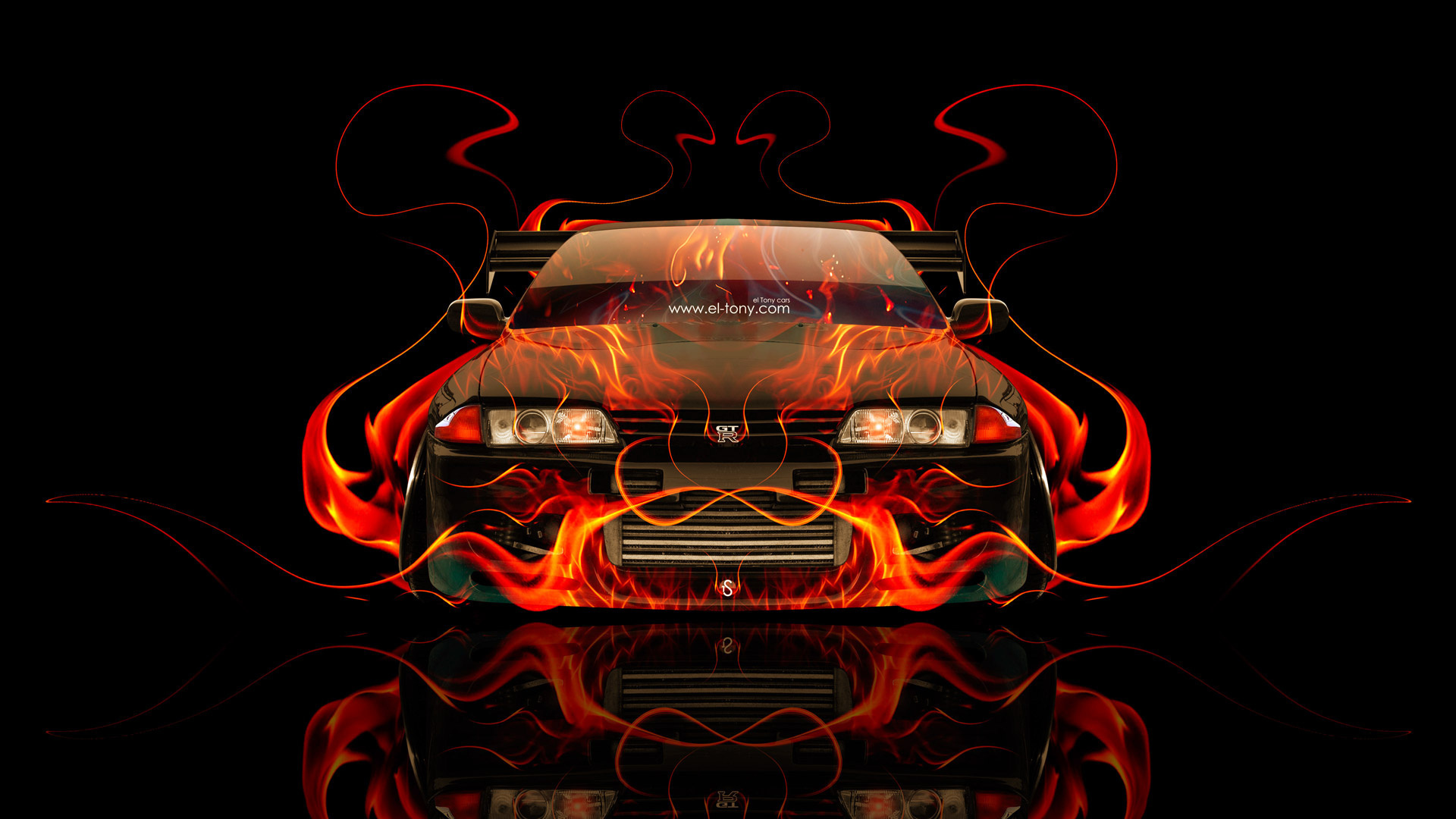 tony kokhan, nissan, skyline, gtr, r32, jdm, fire, car, abstract, orange, front, flame, black, tuning, el tony cars, photoshop, design, art, style, hd wallpapers, japan, тони кохан, фотошоп, ниссан, скайлайн, гтр, р32, 32 кузов, Японец, вид спереди, обои,