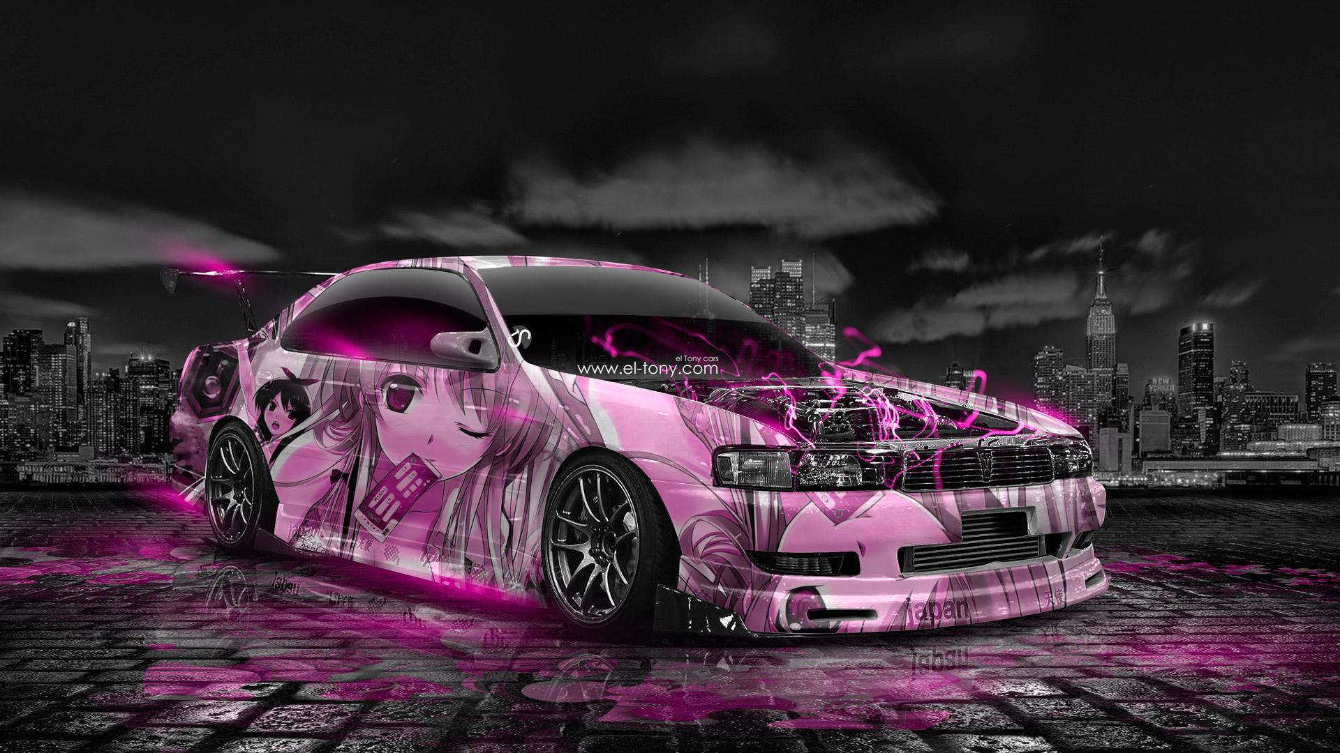 tony kokhan, toyota, chaser, jzx90, jdm, anime, girl, aerography, city, japan, pink, neon, effects, car, tuning, el tony cars, photoshop, design, art, style, hd wallpapers, тони кохан, фотошоп, тойота, Чайзер, аниме, анимэ, аэрография, город, ночь, розовы