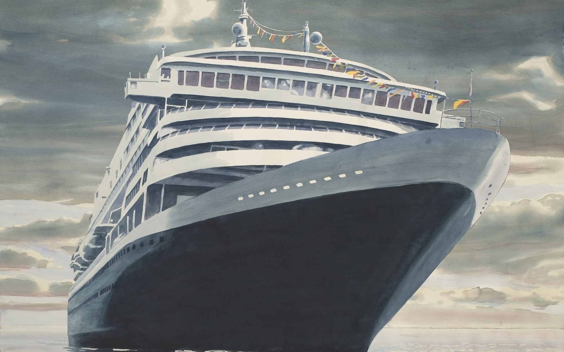 корабль, картина, море, красиво, небо,облака