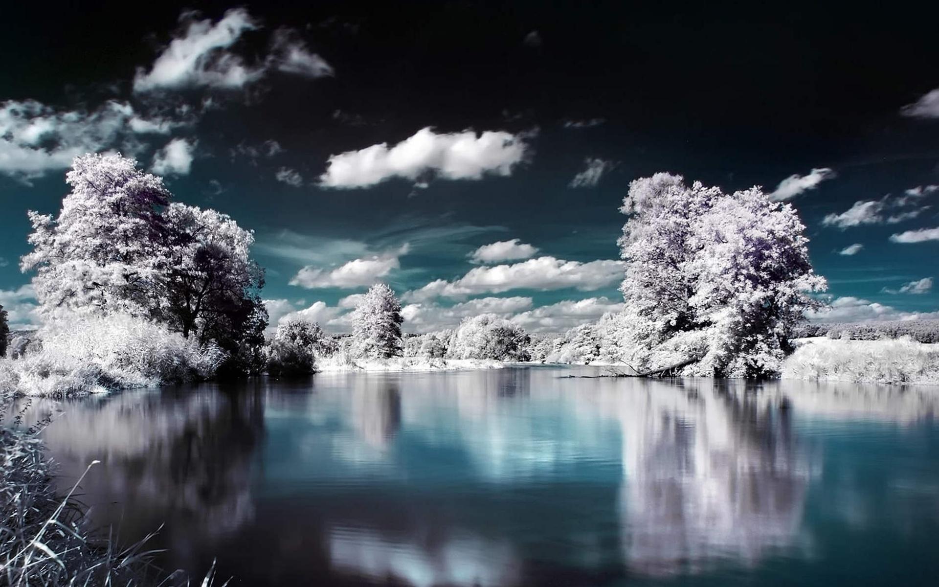 небо, облака, вода, деревья, снег, начало зимы, зима, природа