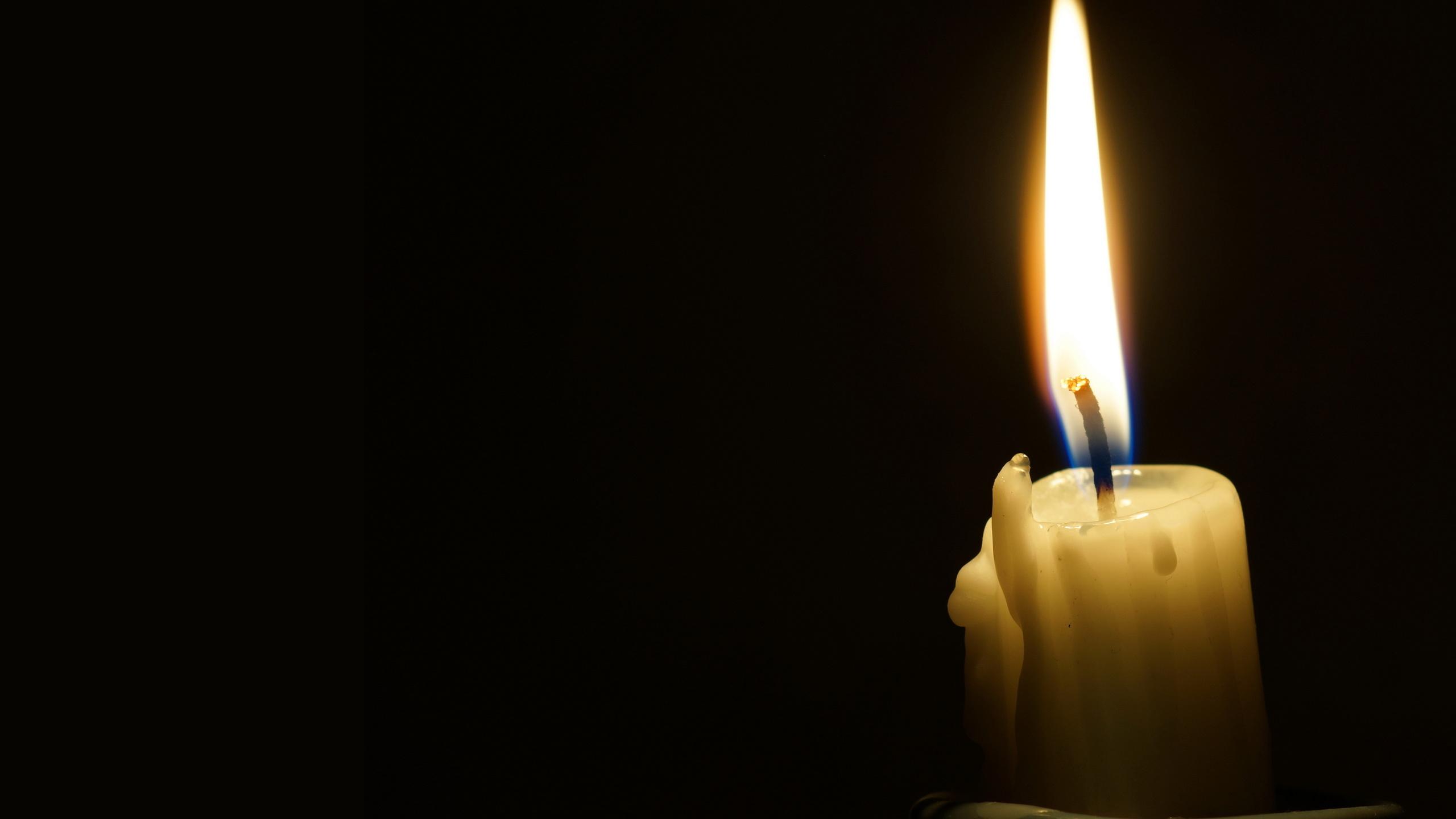 свеча, пламя, огонь, чёрный, фон, минимализм