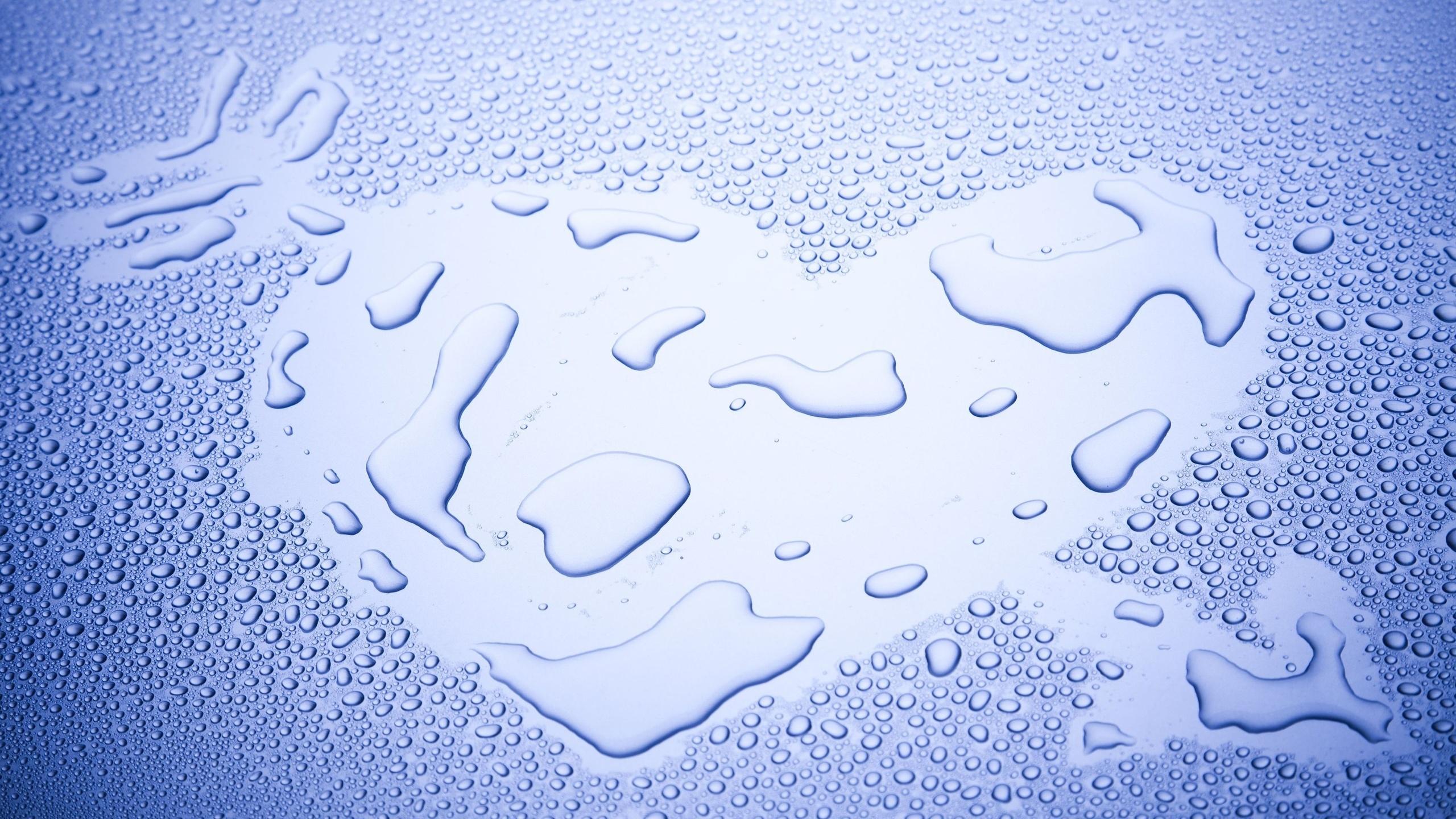 сердце, любовь, вода, капли, макро, фото