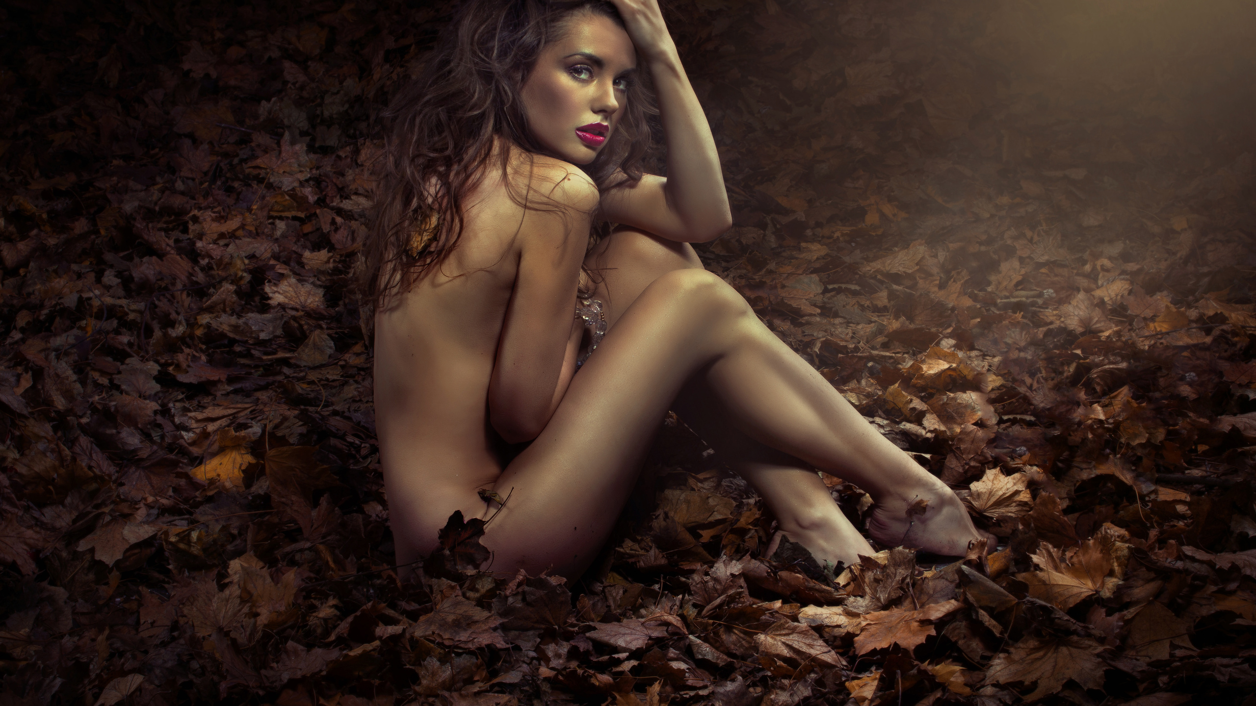 девушка, шатенка, позирует, осень, фото, креатив