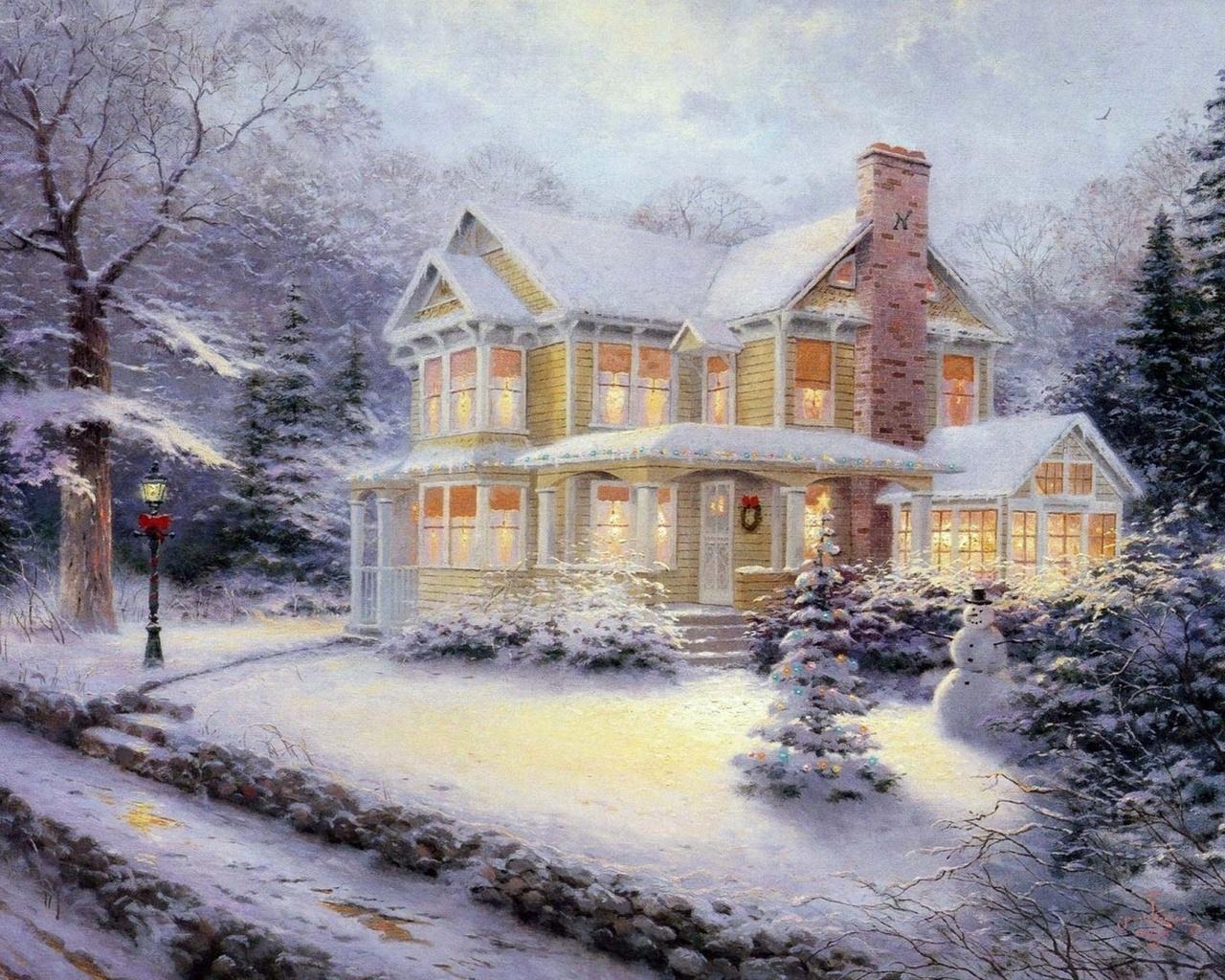 Красивая открытка зима вечер, день свадьбы