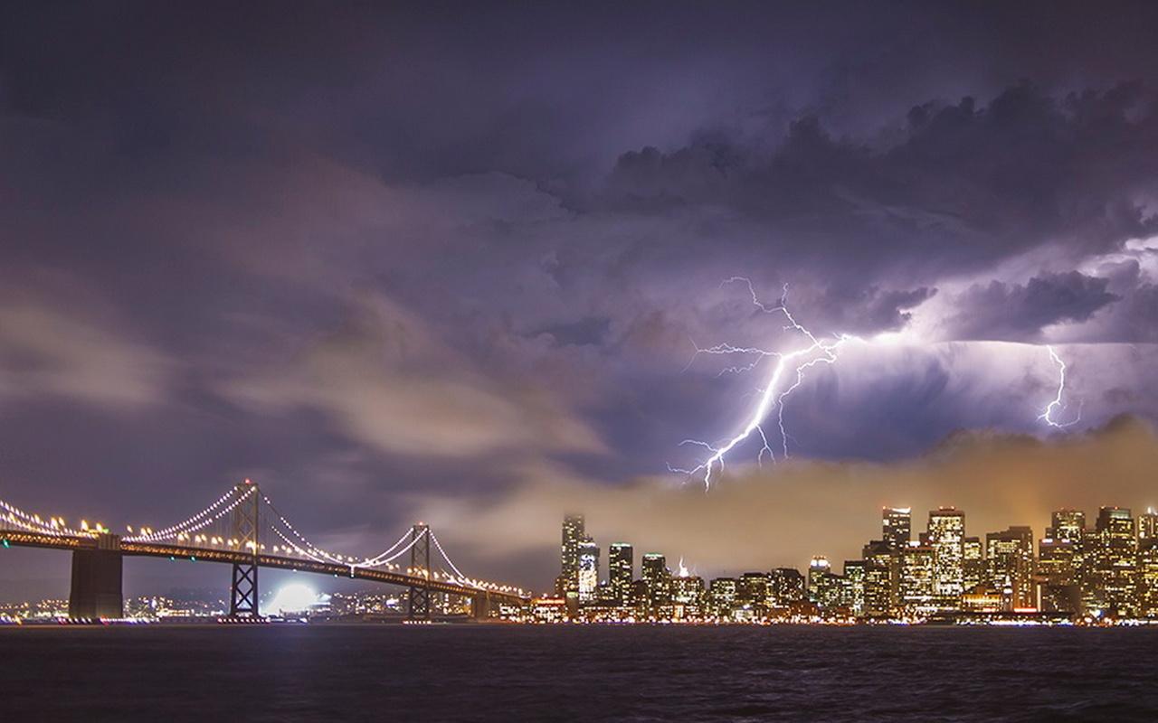 сан франциско, мост, город, здания, небеса шик, красота, молния, огни, освещение, широкоформатные