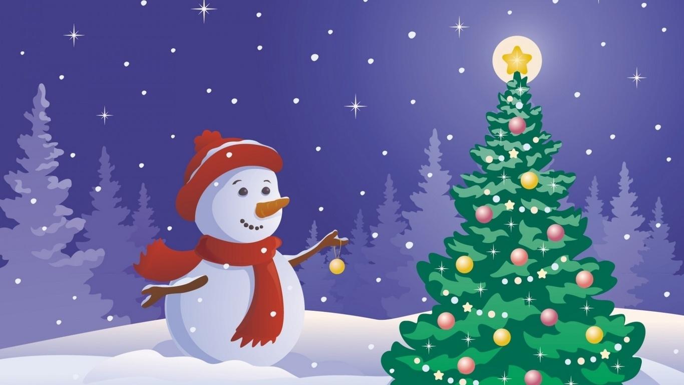 Картинки выходные, новогодние открытки снеговик и елка