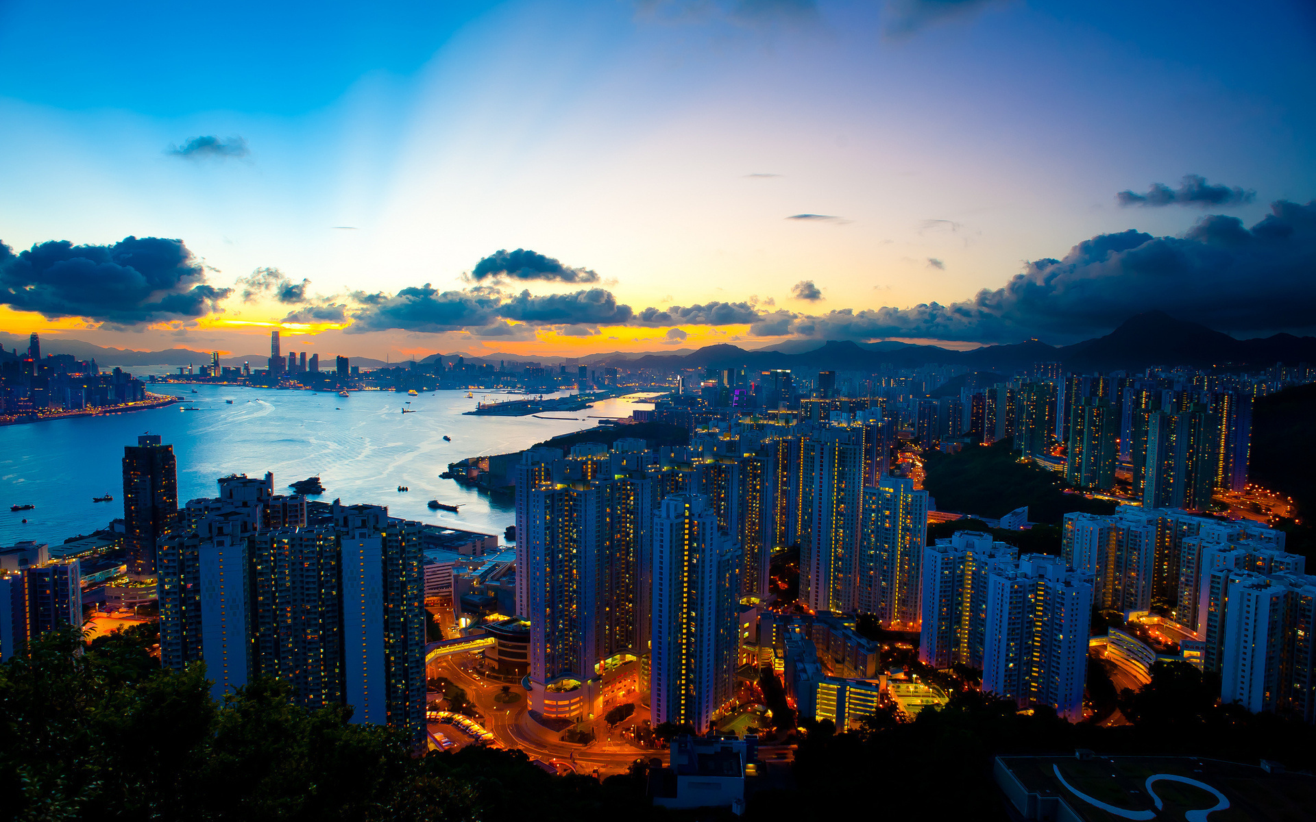 город, вечер, горы, небо, закат, залив, океан, красиво, вечер, гонконг, hong kong
