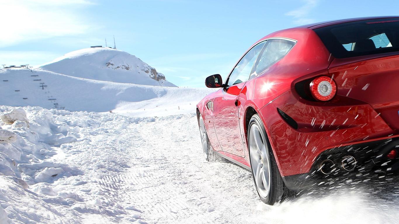 фото, природа, горы, зима, снег, суперкар, скорость, феррари, красный, красава