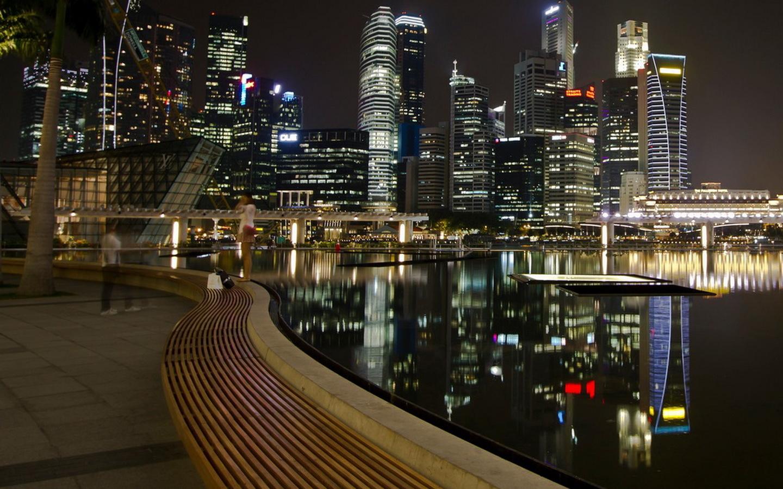 сингапур, город, ночь, набережная, небоскребы, огни, освещение, вода, отражение, красота