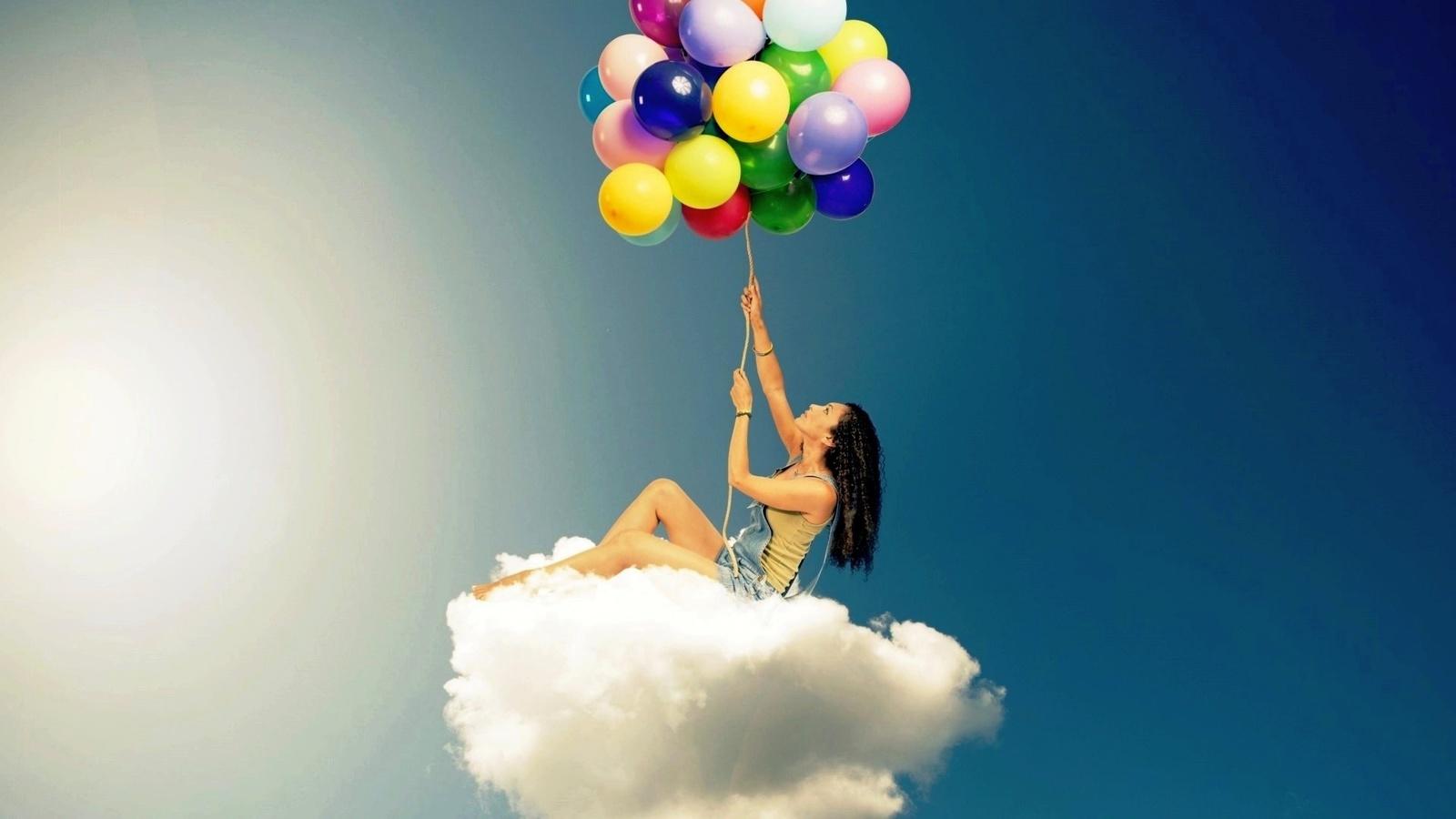 Девушка с шариками воздушными картинки